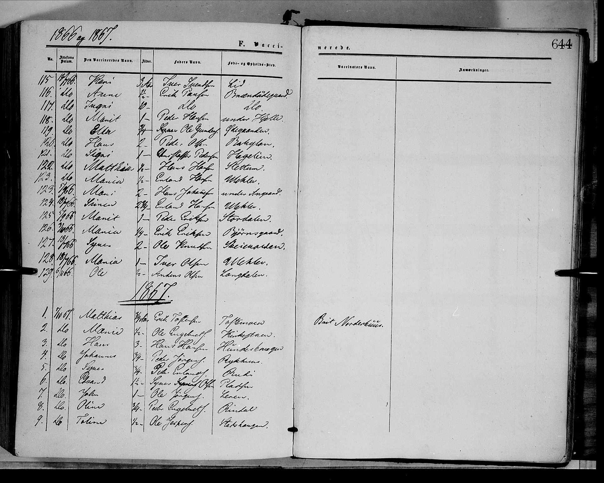 SAH, Dovre prestekontor, Parish register (official) no. 1, 1854-1878, p. 644