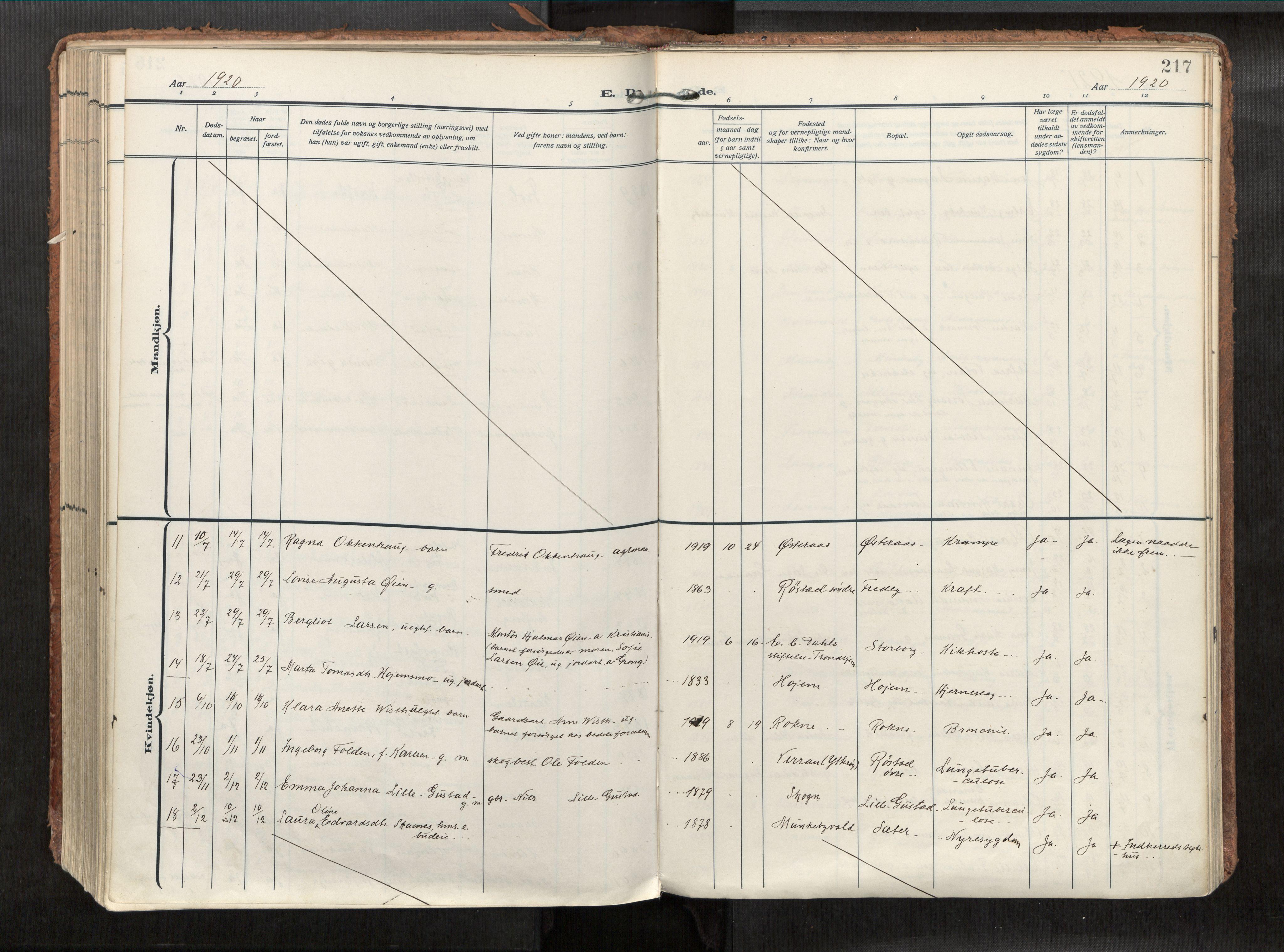 SAT, Levanger sokneprestkontor*, Parish register (official) no. 1, 1912-1935, p. 217