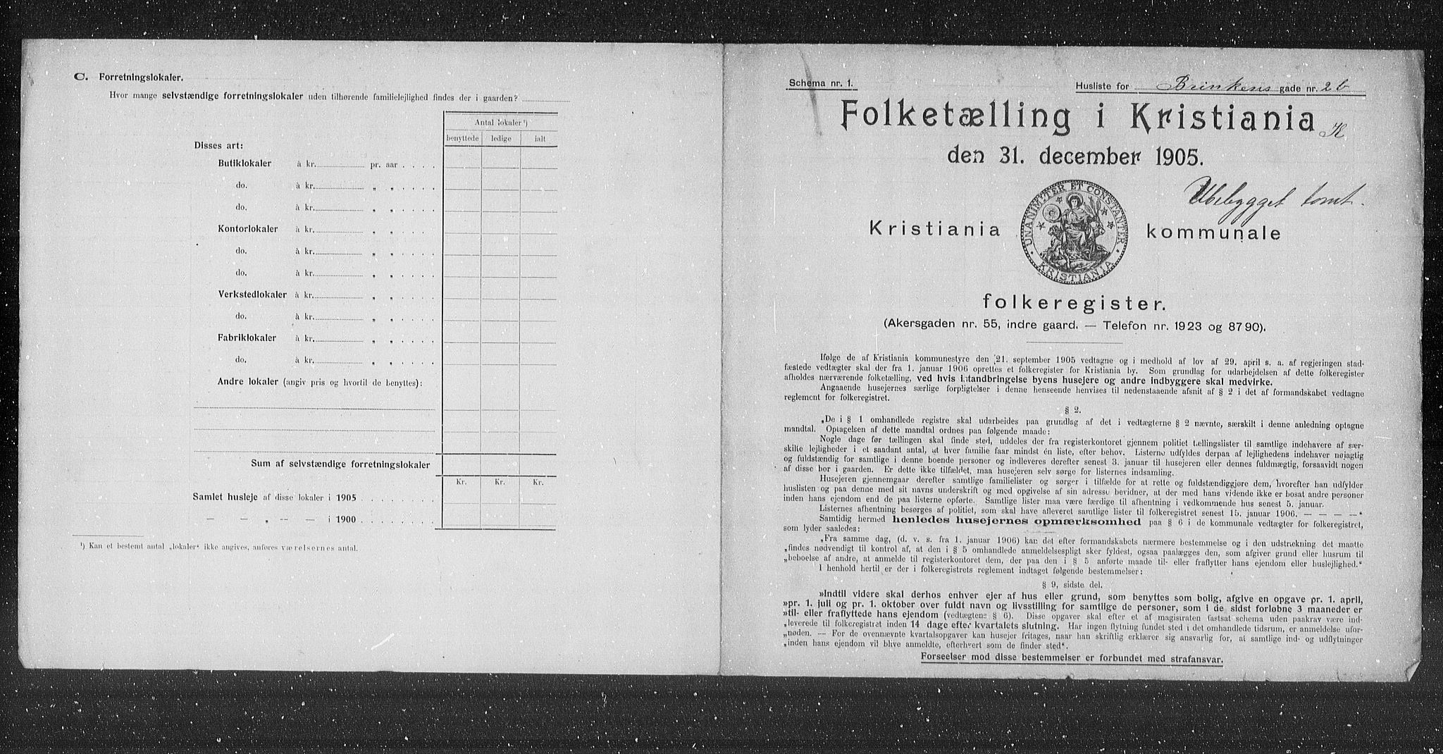 OBA, Municipal Census 1905 for Kristiania, 1905, p. 4388