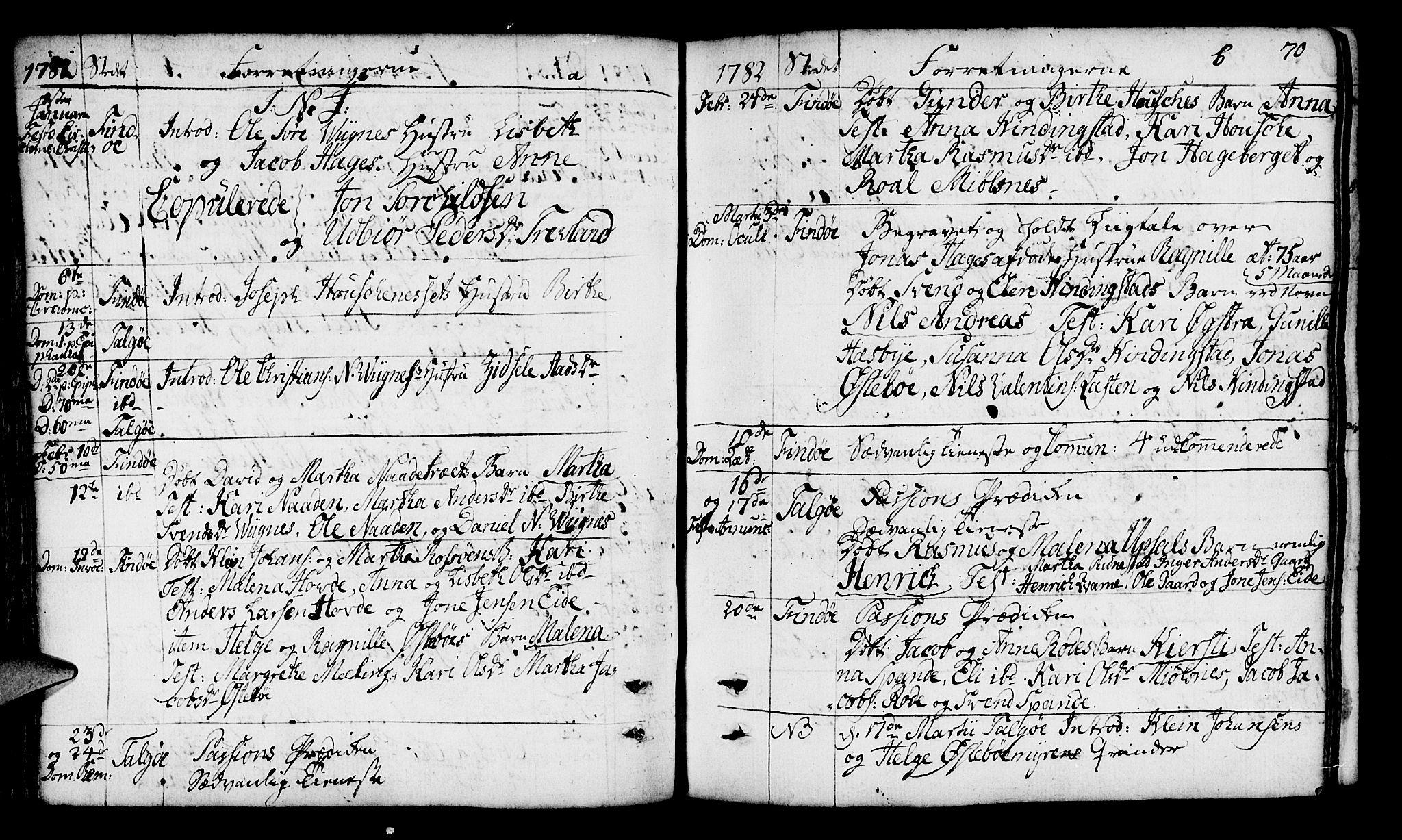 SAST, Finnøy sokneprestkontor, H/Ha/Haa/L0005: Parish register (official) no. A 5, 1773-1816, p. 70
