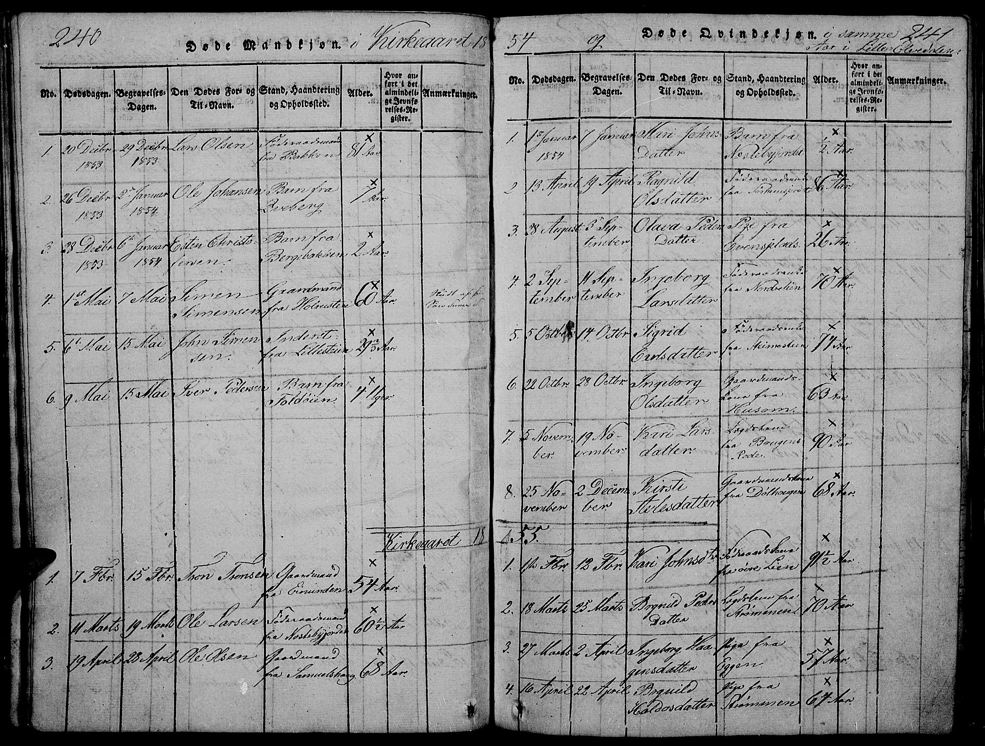 SAH, Tynset prestekontor, Parish register (copy) no. 2, 1814-1862, p. 240-241