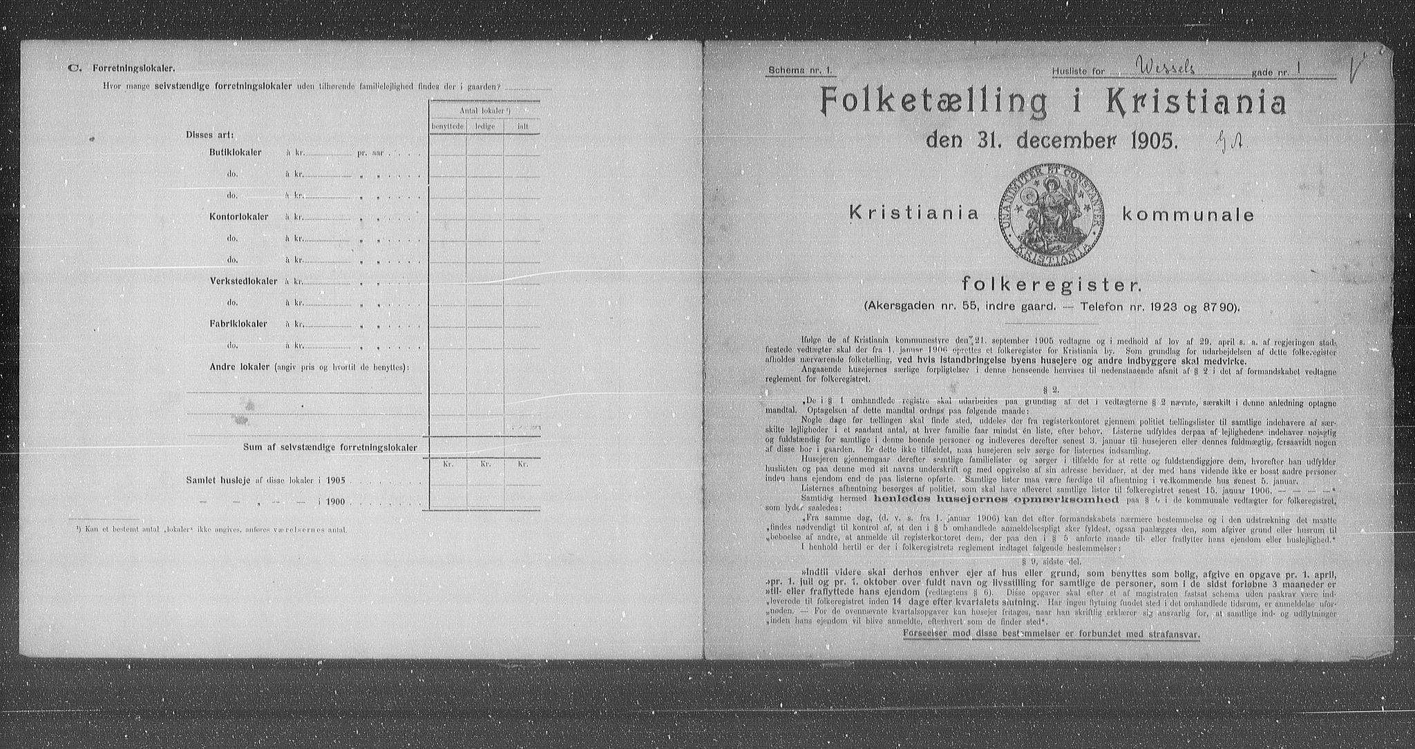 OBA, Municipal Census 1905 for Kristiania, 1905, p. 67241