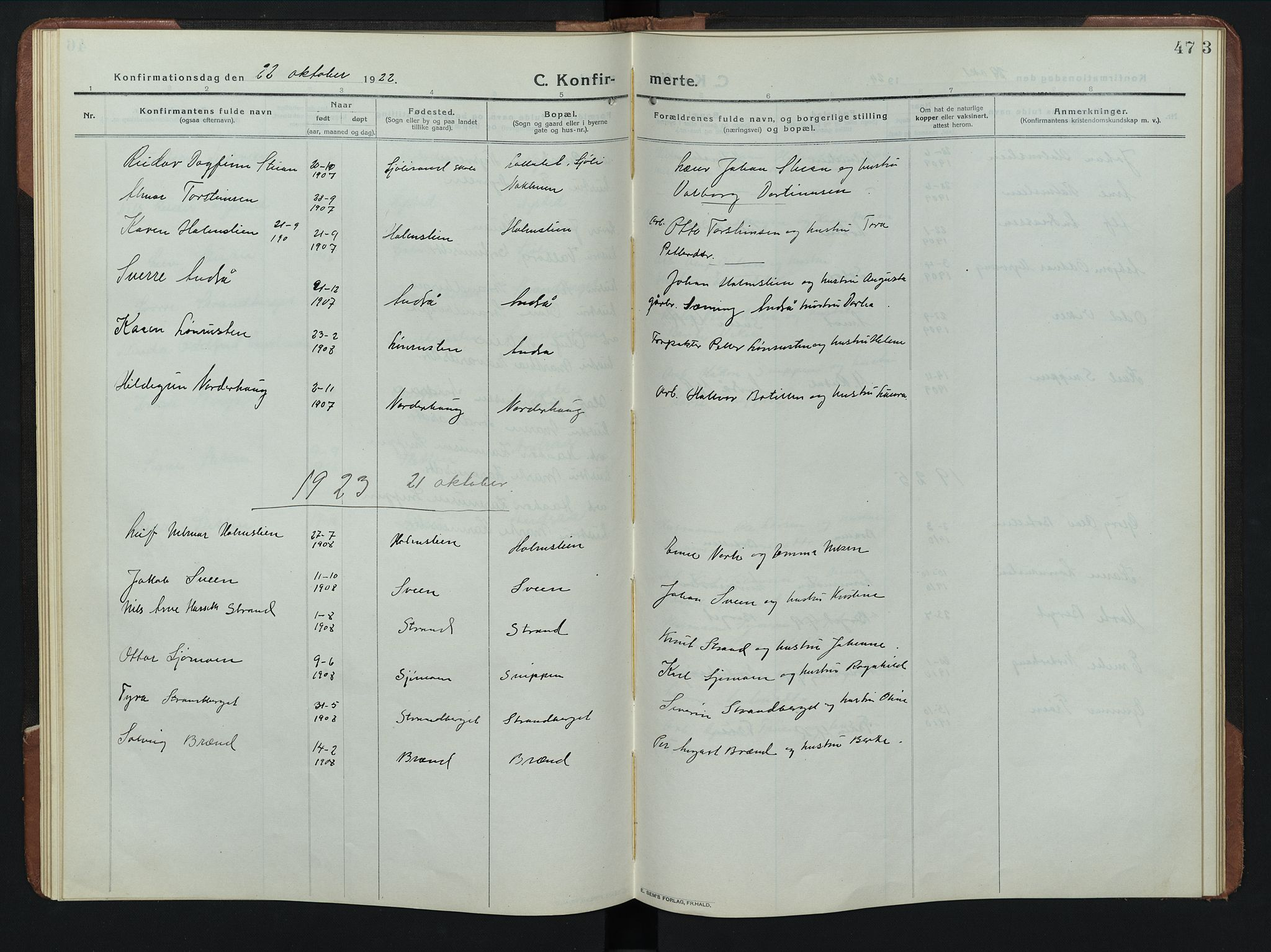 SAH, Rendalen prestekontor, H/Ha/Hab/L0008: Parish register (copy) no. 8, 1914-1948, p. 47