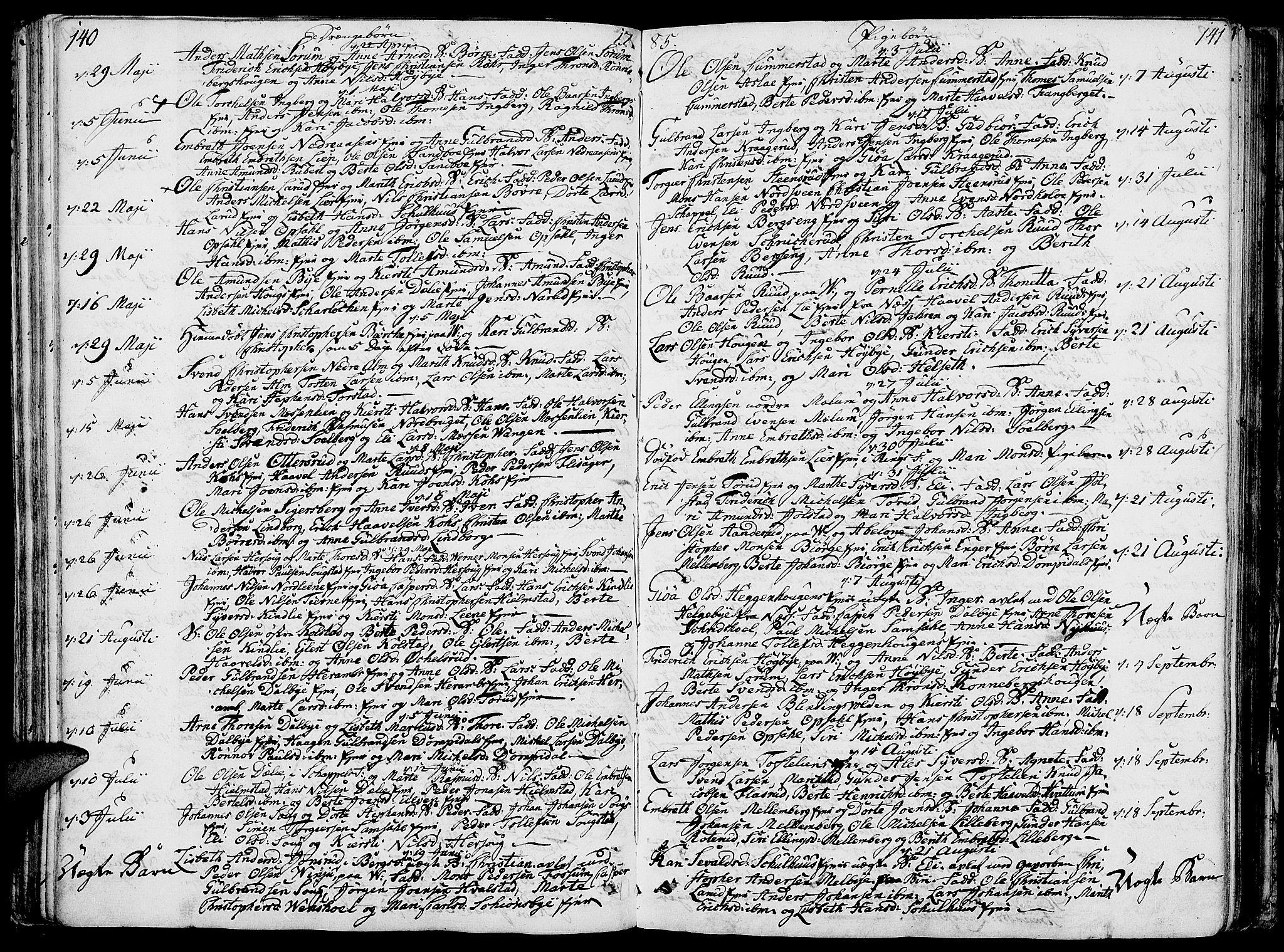 SAH, Ringsaker prestekontor, K/Ka/L0003: Parish register (official) no. 3, 1775-1798, p. 140-141