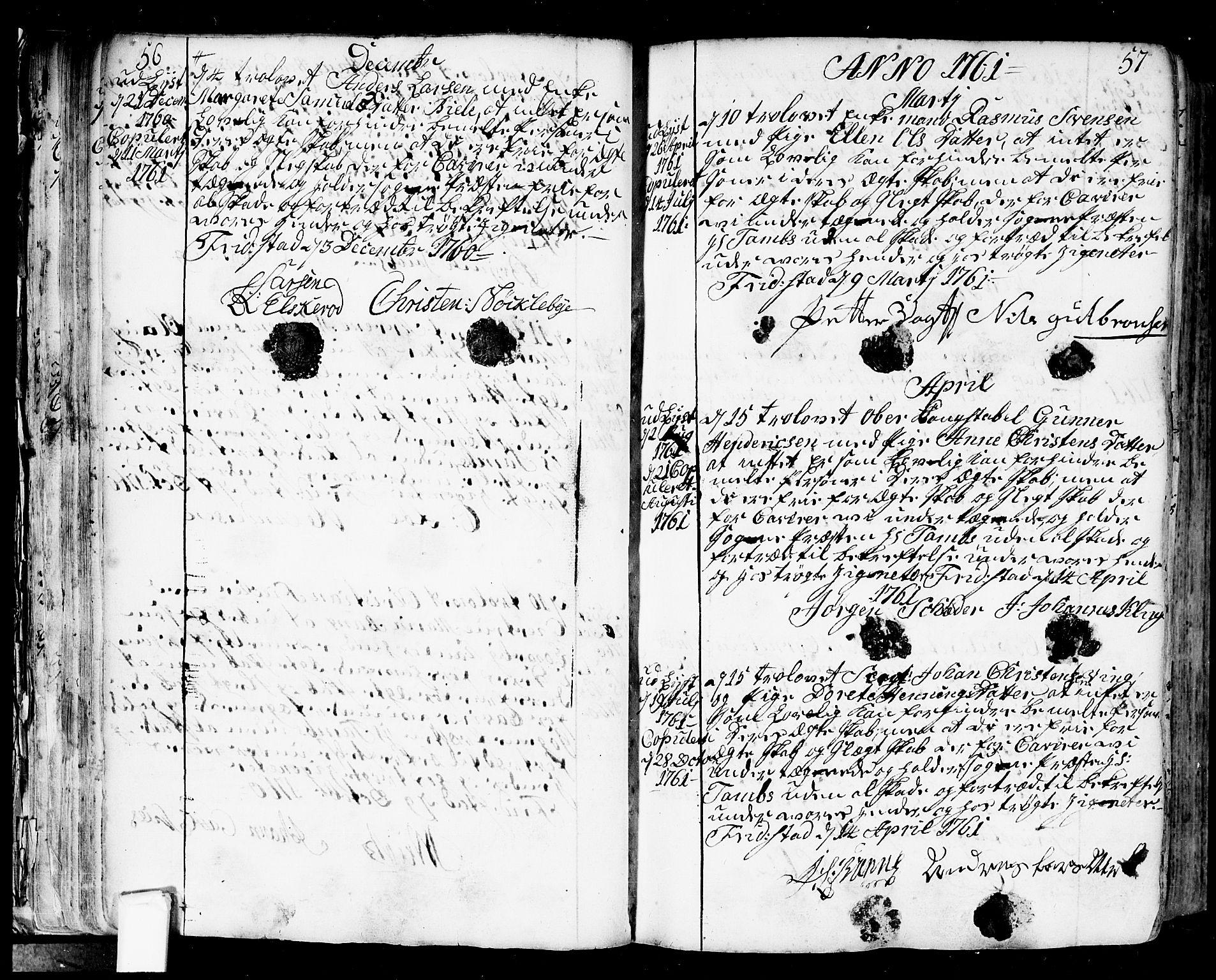 SAO, Fredrikstad prestekontor Kirkebøker, F/Fa/L0002: Parish register (official) no. 2, 1750-1804, p. 56-57