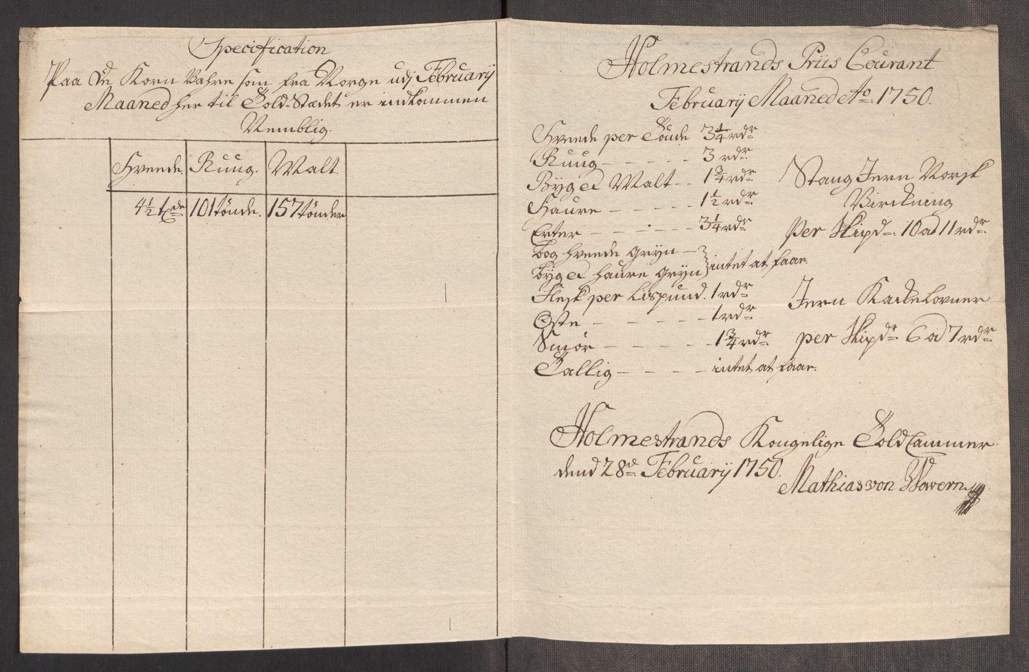 RA, Rentekammeret inntil 1814, Realistisk ordnet avdeling, Oe/L0004: [Ø1]: Priskuranter, 1749-1752, p. 301