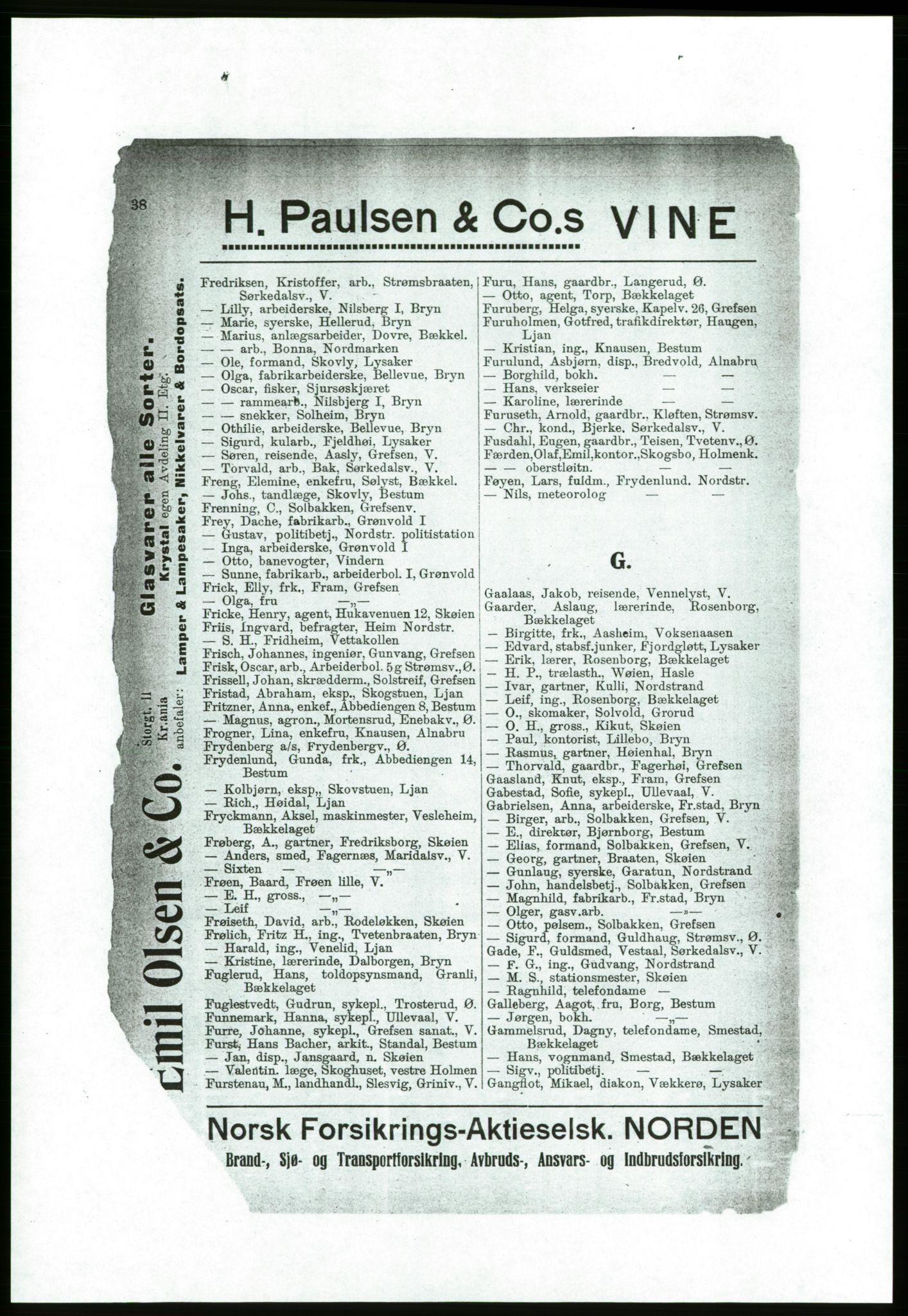 RA, Aker adressebok/adressekalender (publikasjon)*, 1916-1917, p. 38