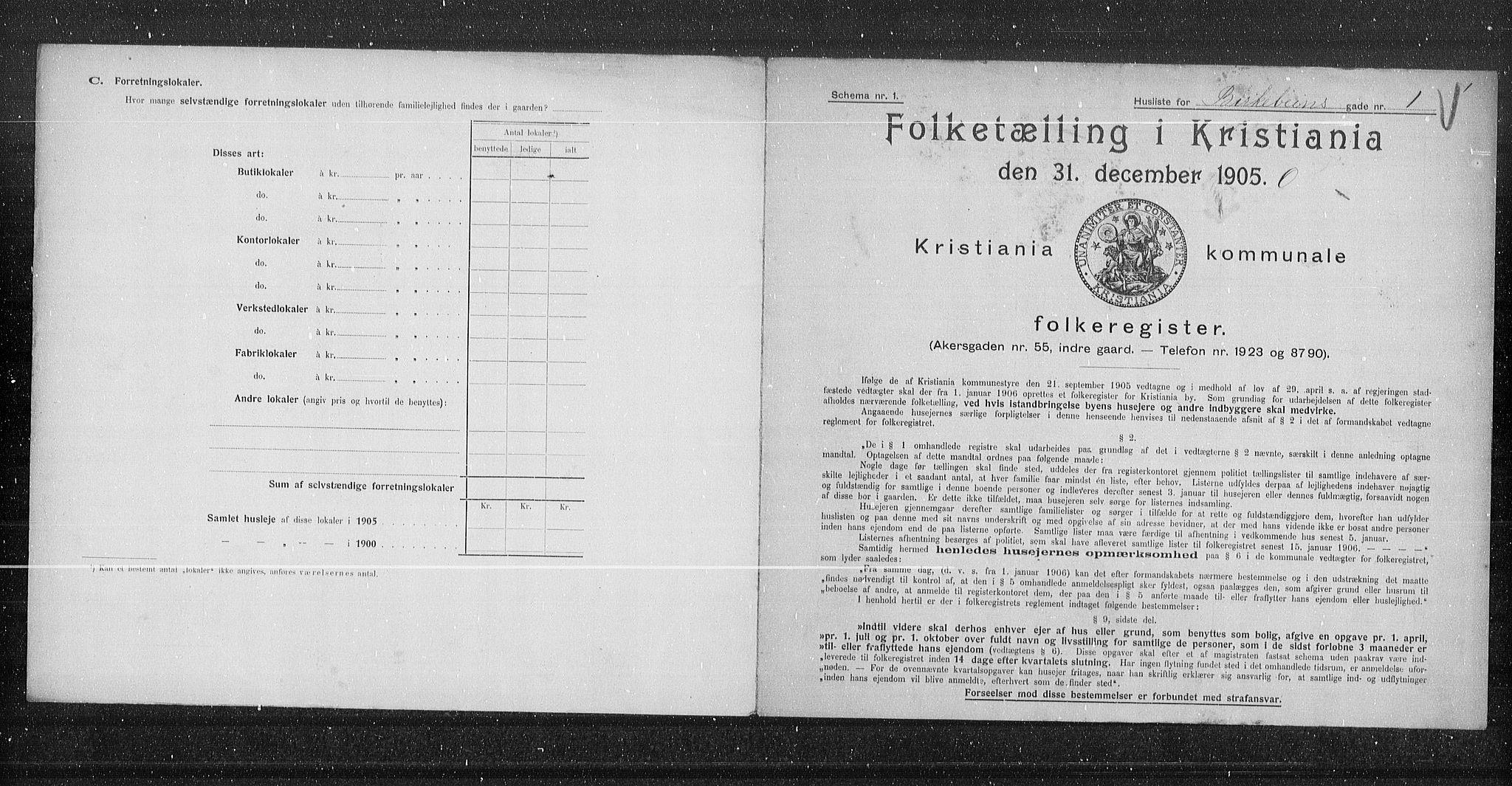 OBA, Municipal Census 1905 for Kristiania, 1905, p. 2383
