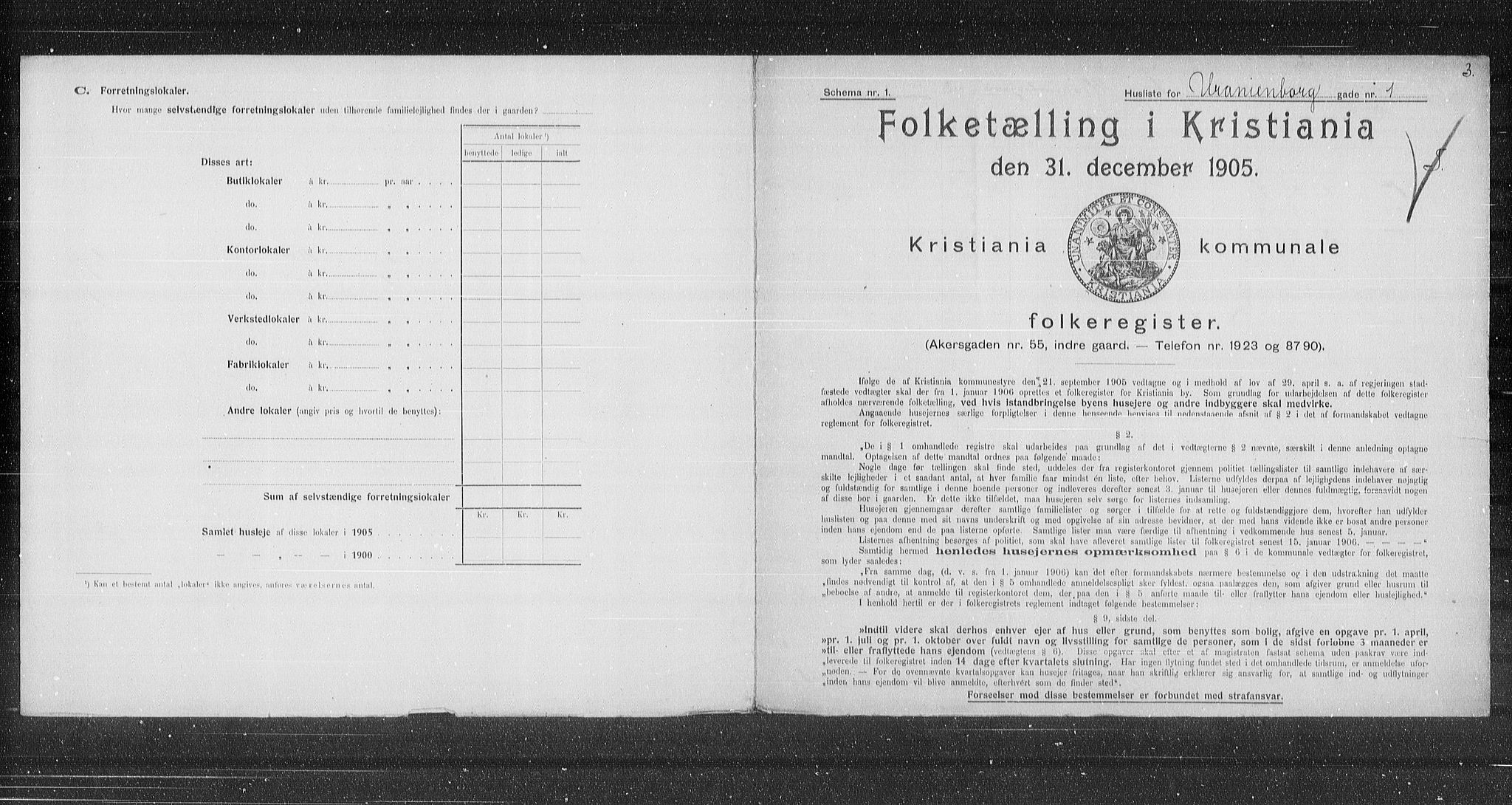 OBA, Municipal Census 1905 for Kristiania, 1905, p. 63207