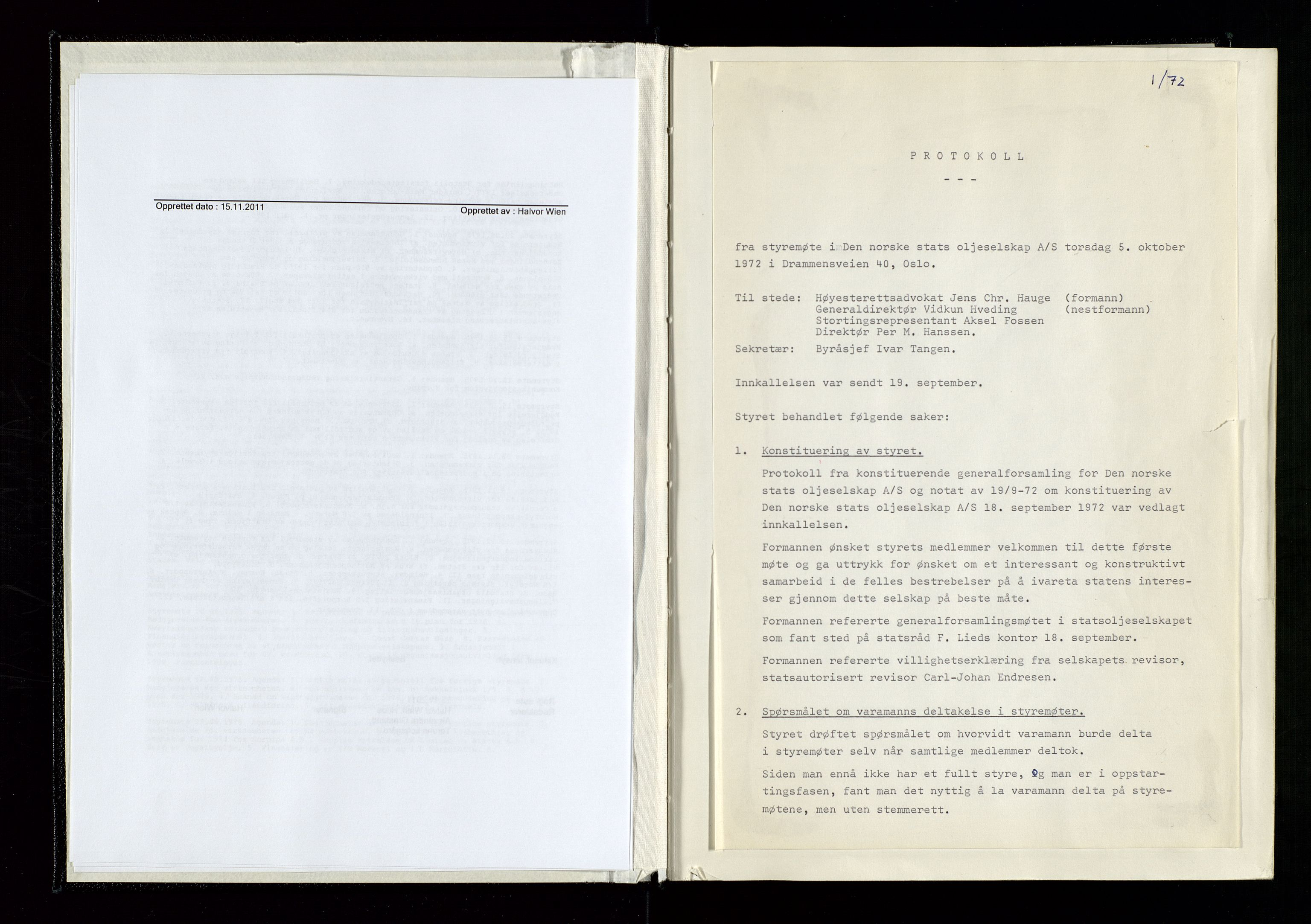 SAST, Pa 1339 - Statoil ASA, A/Ab/Aba/L0001: Styremøteprotokoller, 05.10.1972 til 14.12.1978, 1972-1978, p. 7