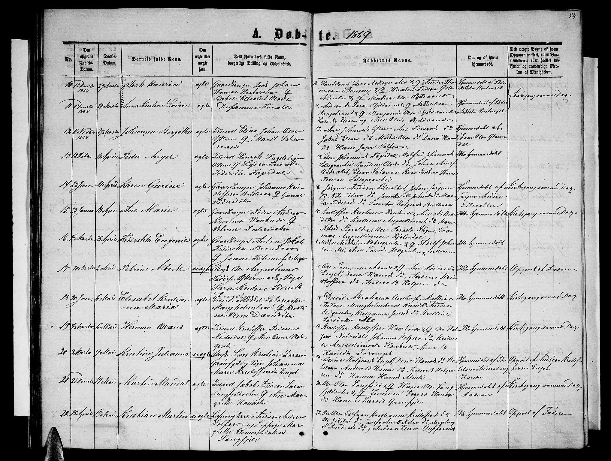 SAT, Ministerialprotokoller, klokkerbøker og fødselsregistre - Nordland, 827/L0415: Parish register (copy) no. 827C04, 1864-1886, p. 54