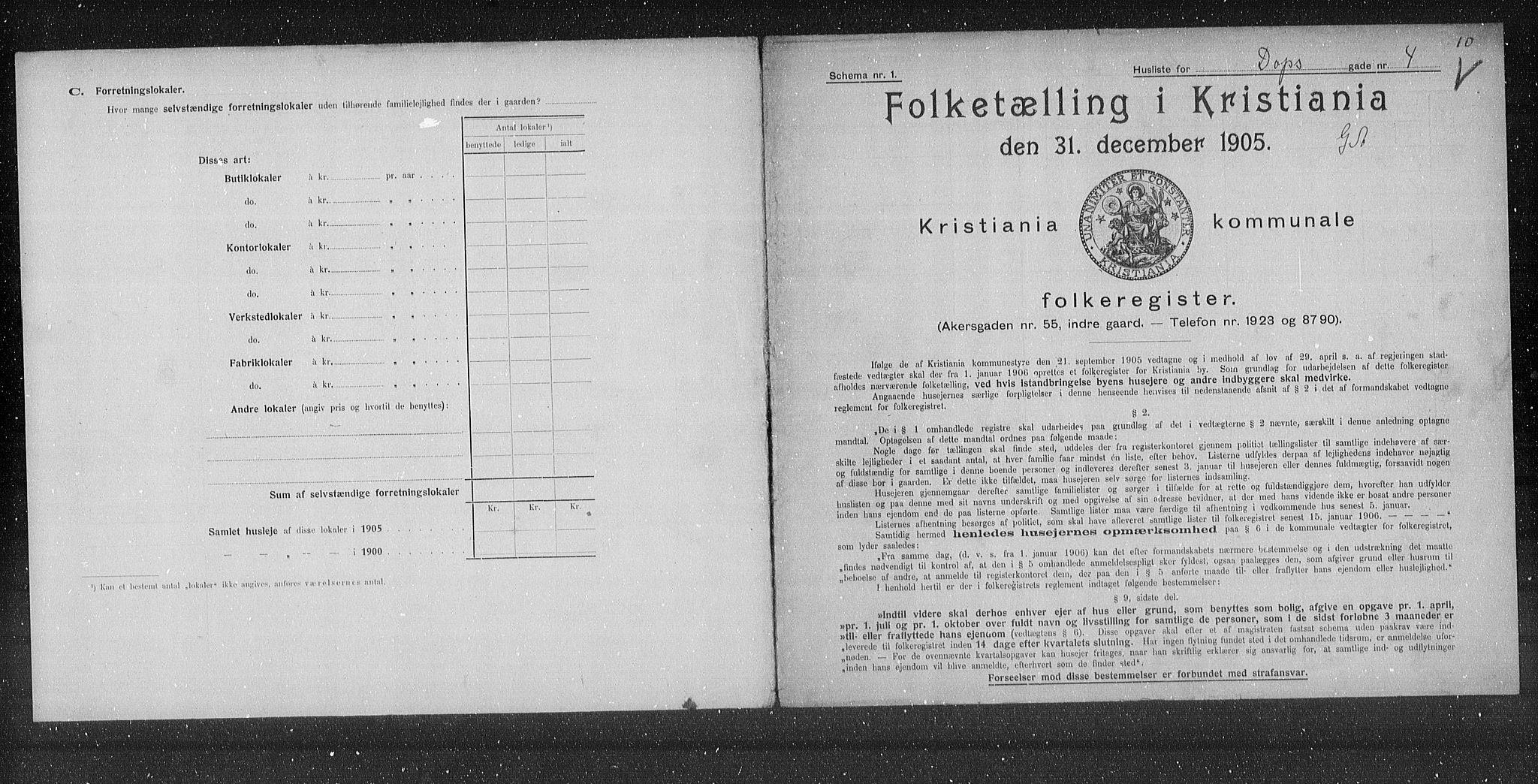 OBA, Municipal Census 1905 for Kristiania, 1905, p. 8235
