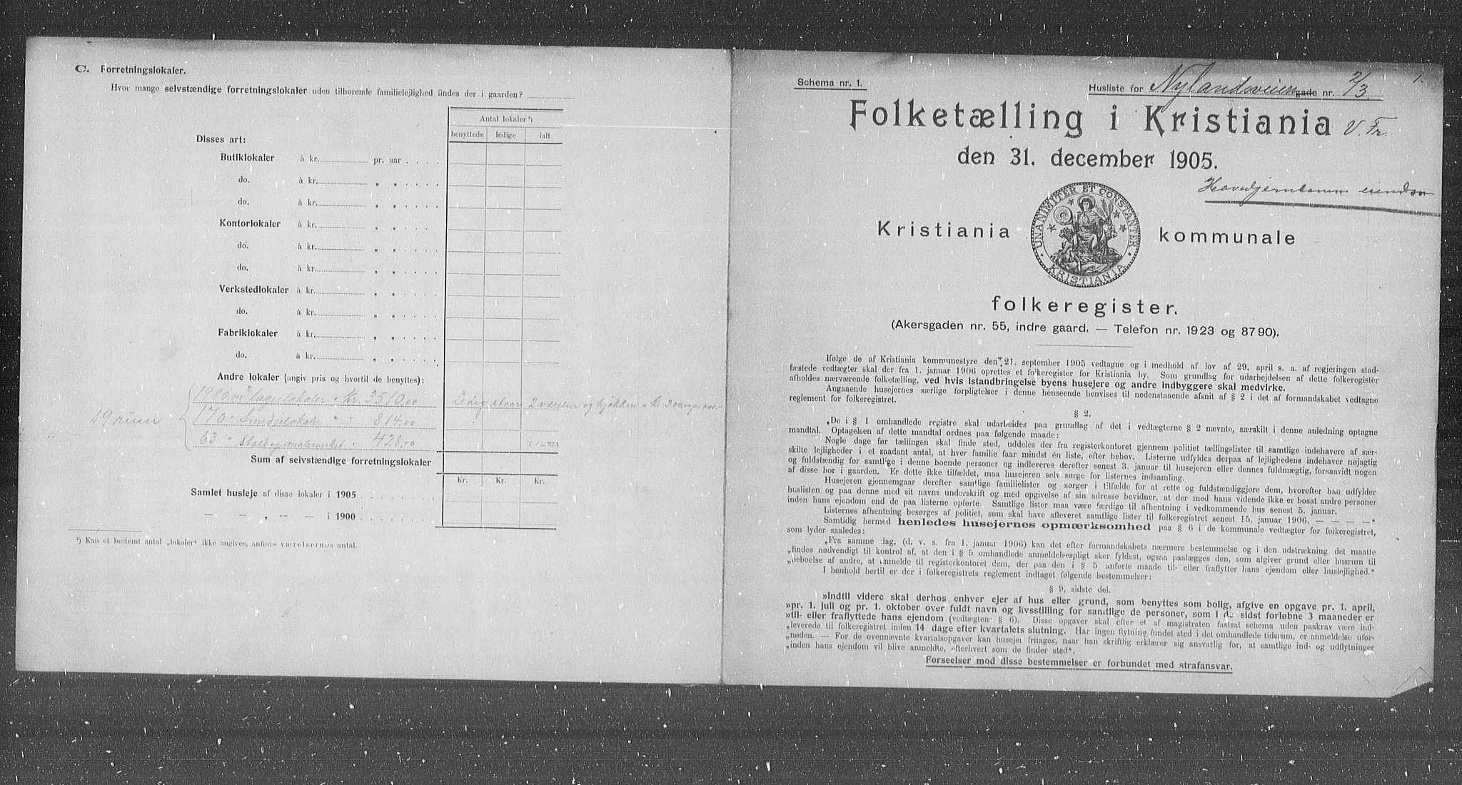 OBA, Municipal Census 1905 for Kristiania, 1905, p. 38980