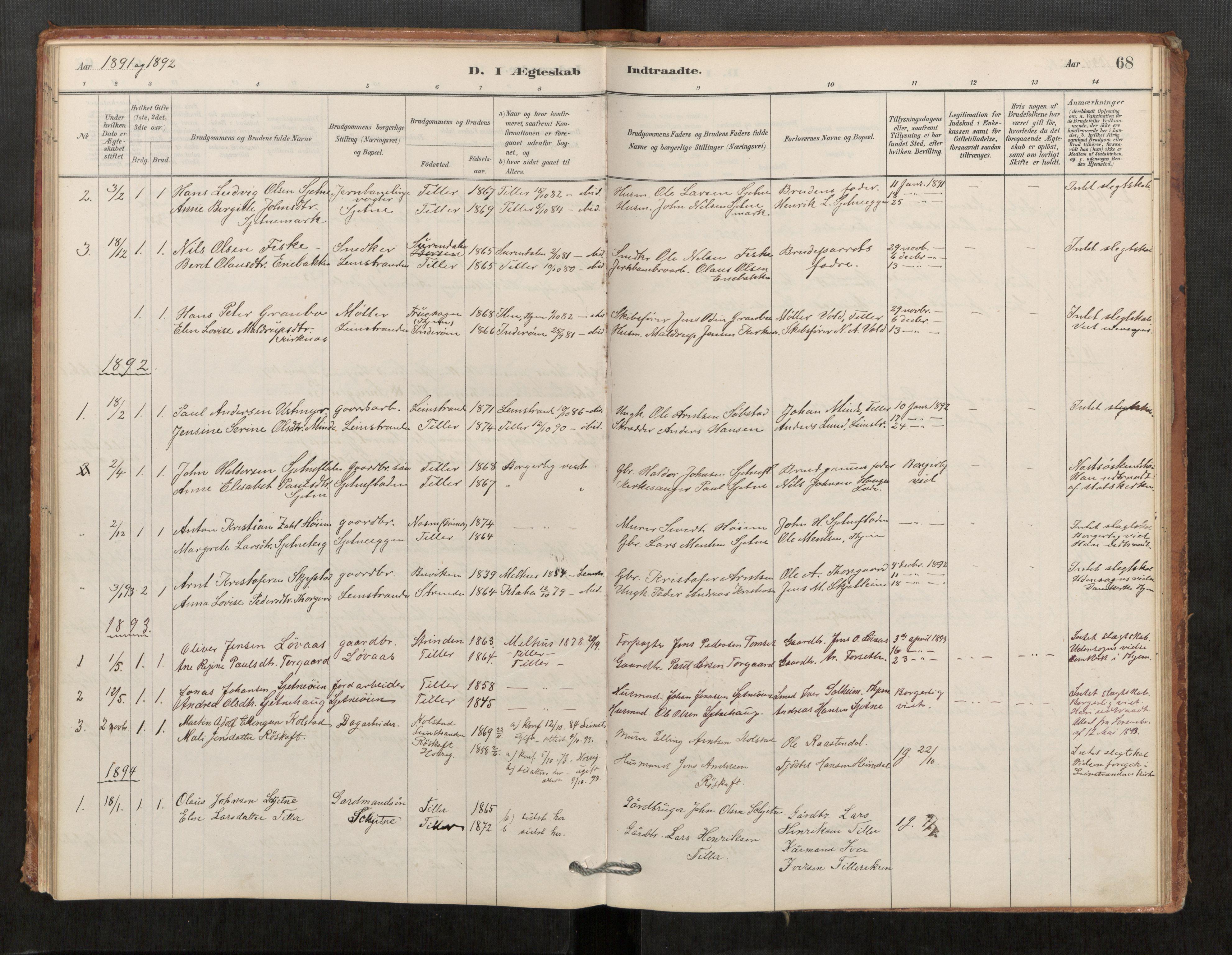 SAT, Klæbu sokneprestkontor, Parish register (official) no. 1, 1880-1900, p. 68