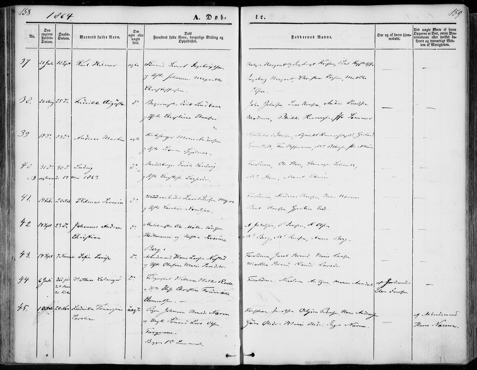 SAT, Ministerialprotokoller, klokkerbøker og fødselsregistre - Møre og Romsdal, 558/L0689: Parish register (official) no. 558A03, 1843-1872, p. 158-159