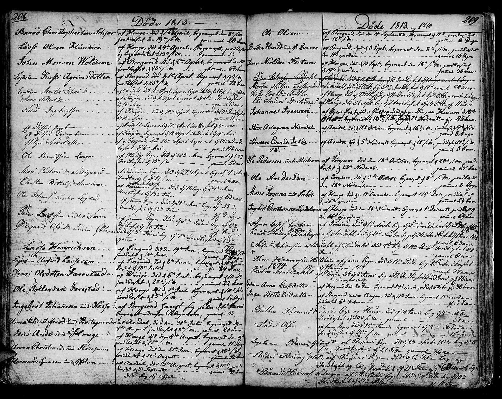SAB, Lærdal sokneprestembete, Parish register (official) no. A 4, 1805-1821, p. 208-209