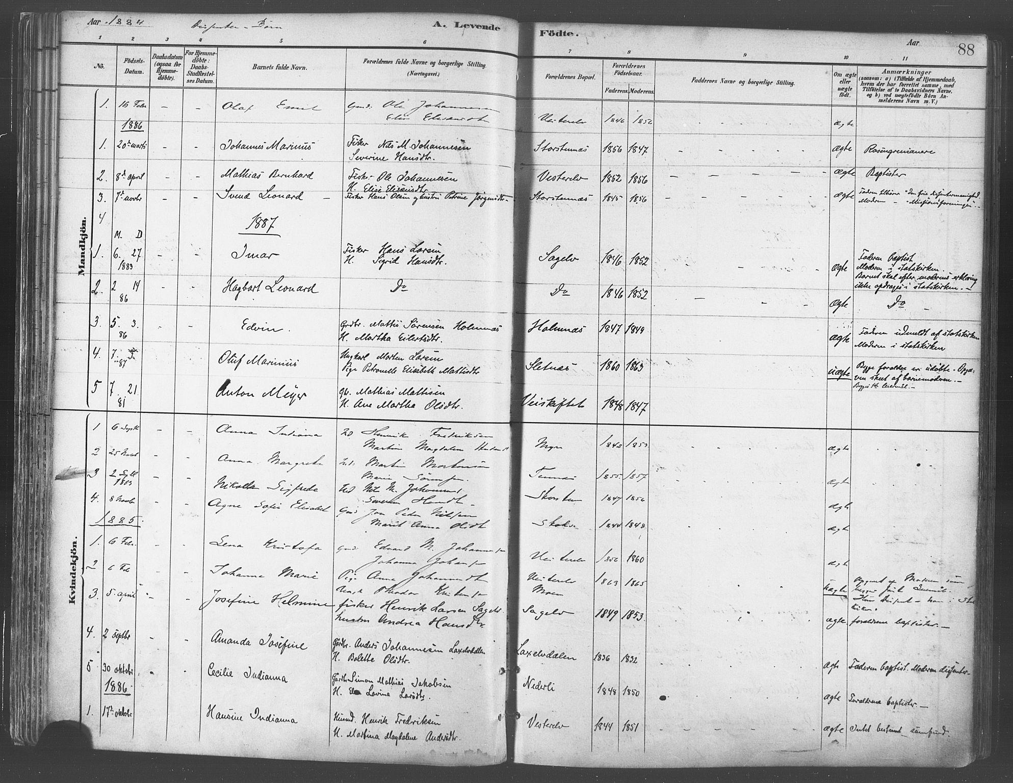SATØ, Balsfjord sokneprestembete, Parish register (official) no. 5, 1884-1897, p. 88