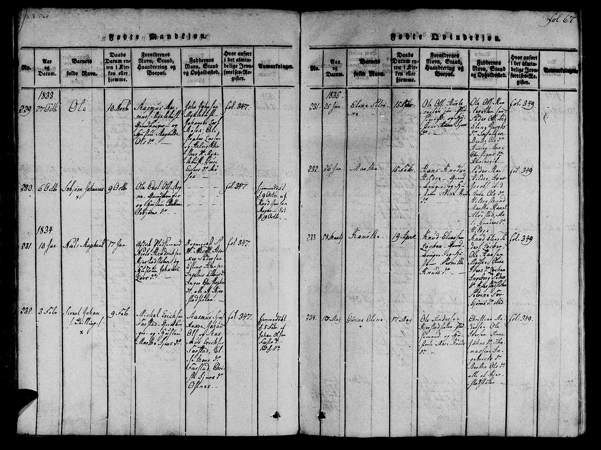 SAT, Ministerialprotokoller, klokkerbøker og fødselsregistre - Møre og Romsdal, 536/L0495: Parish register (official) no. 536A04, 1818-1847, p. 67