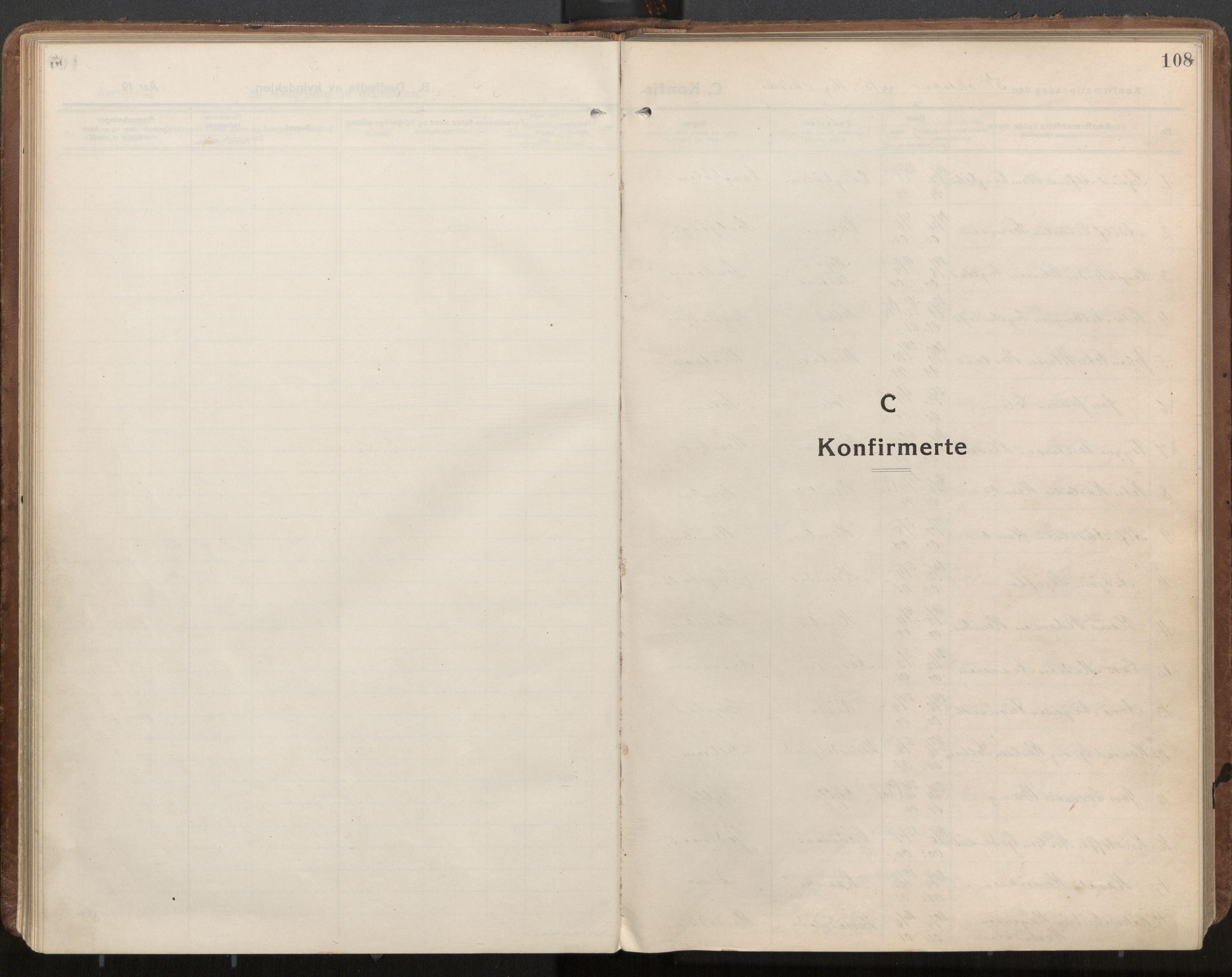SAT, Ministerialprotokoller, klokkerbøker og fødselsregistre - Nord-Trøndelag, 703/L0037: Parish register (official) no. 703A10, 1915-1932, p. 108