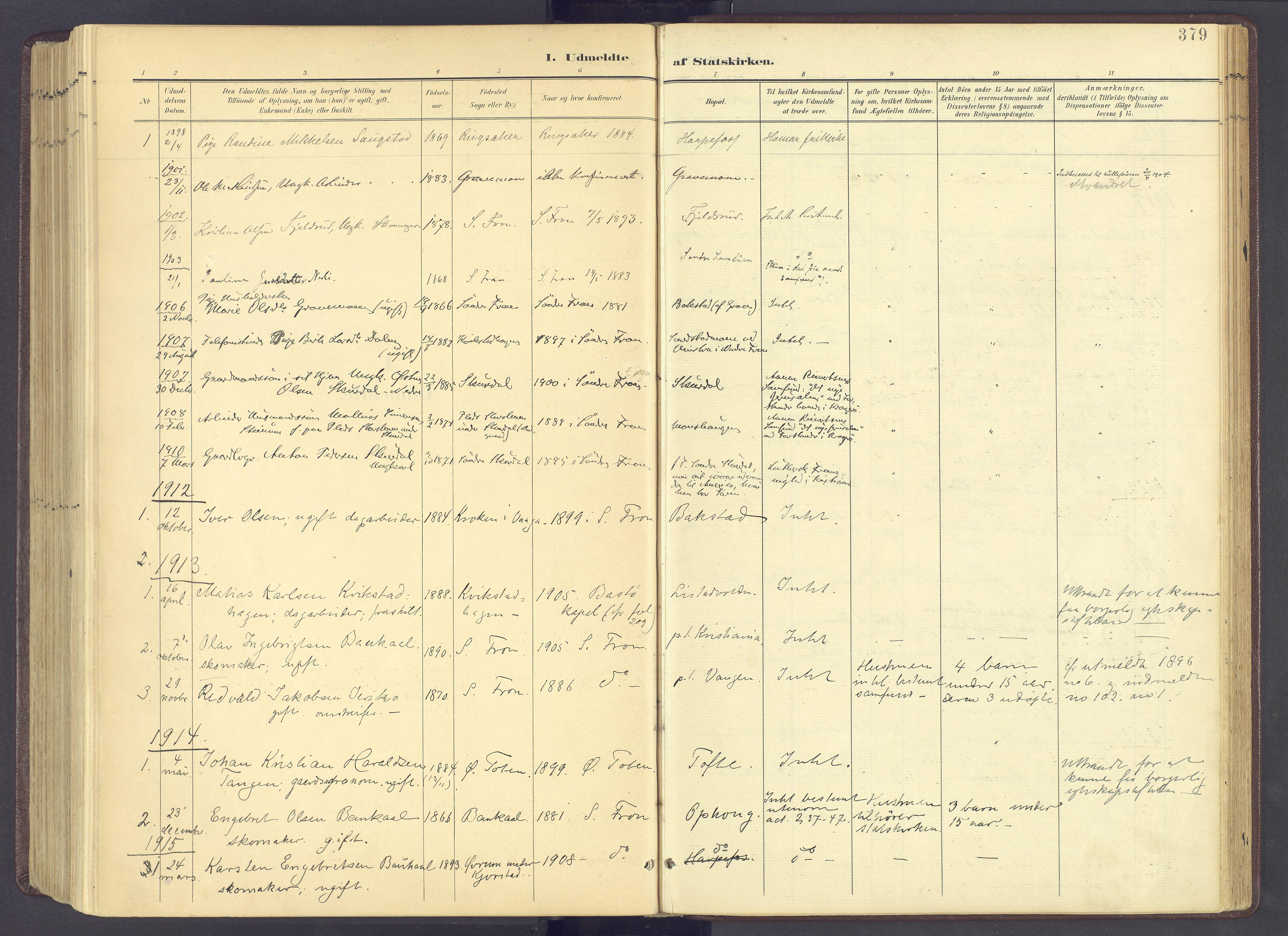 SAH, Sør-Fron prestekontor, H/Ha/Haa/L0004: Parish register (official) no. 4, 1898-1919, p. 379