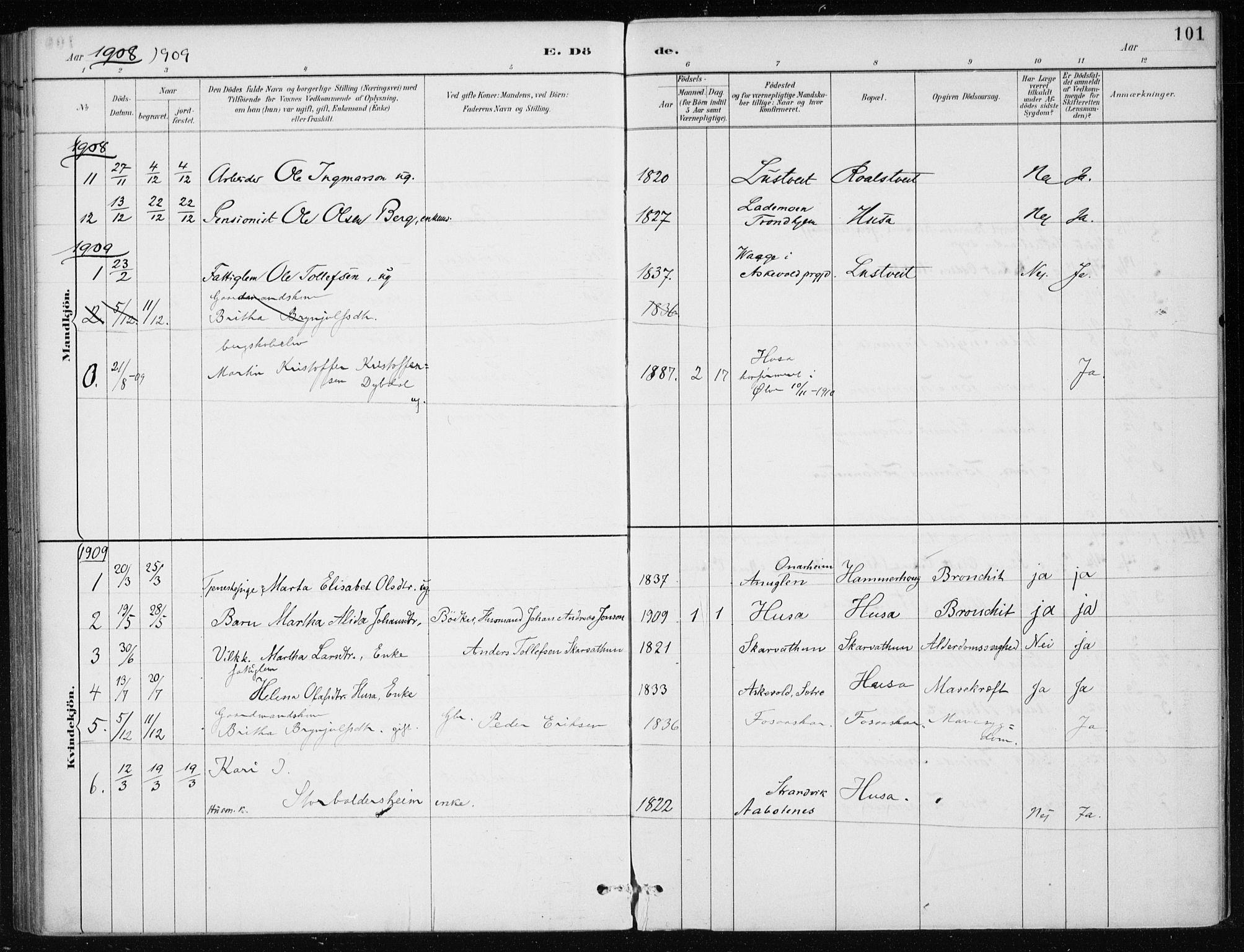 SAB, Kvinnherad Sokneprestembete, H/Haa: Parish register (official) no. E 1, 1887-1912, p. 101