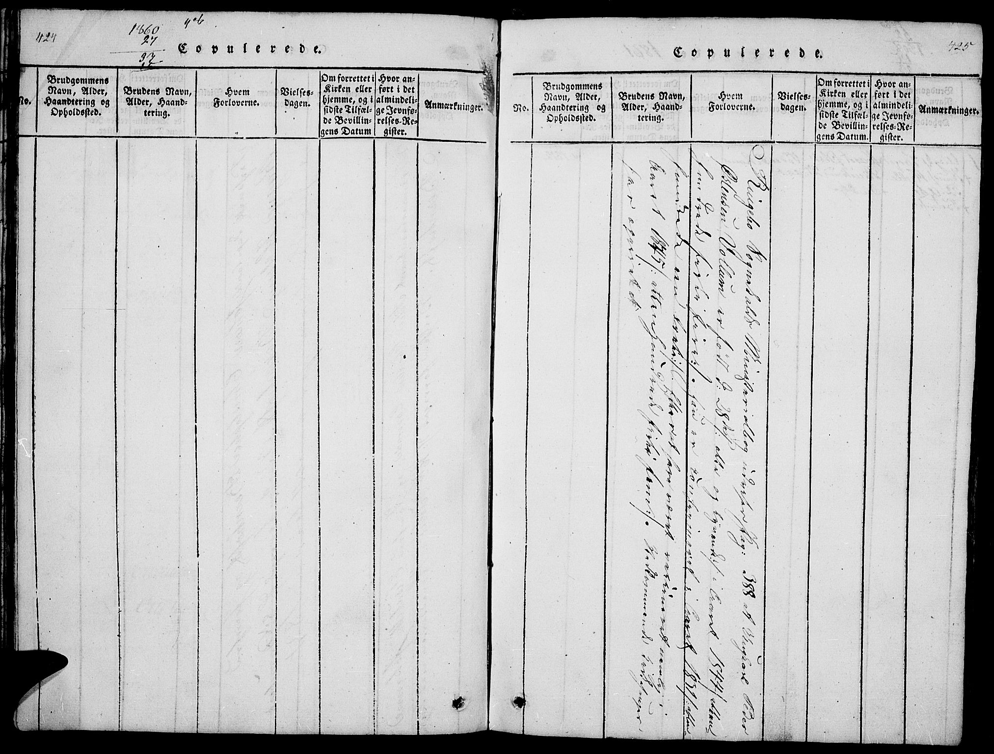 SAH, Ringebu prestekontor, Parish register (copy) no. 1, 1821-1839, p. 424-425