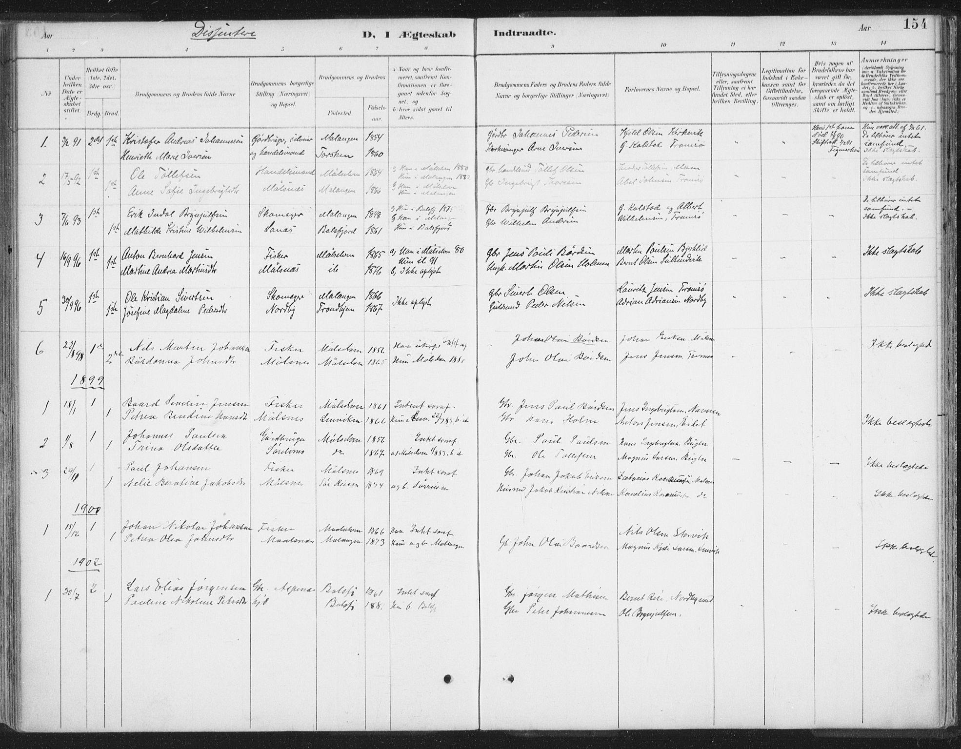 SATØ, Balsfjord sokneprestembete, Parish register (official) no. 7, 1887-1909, p. 154