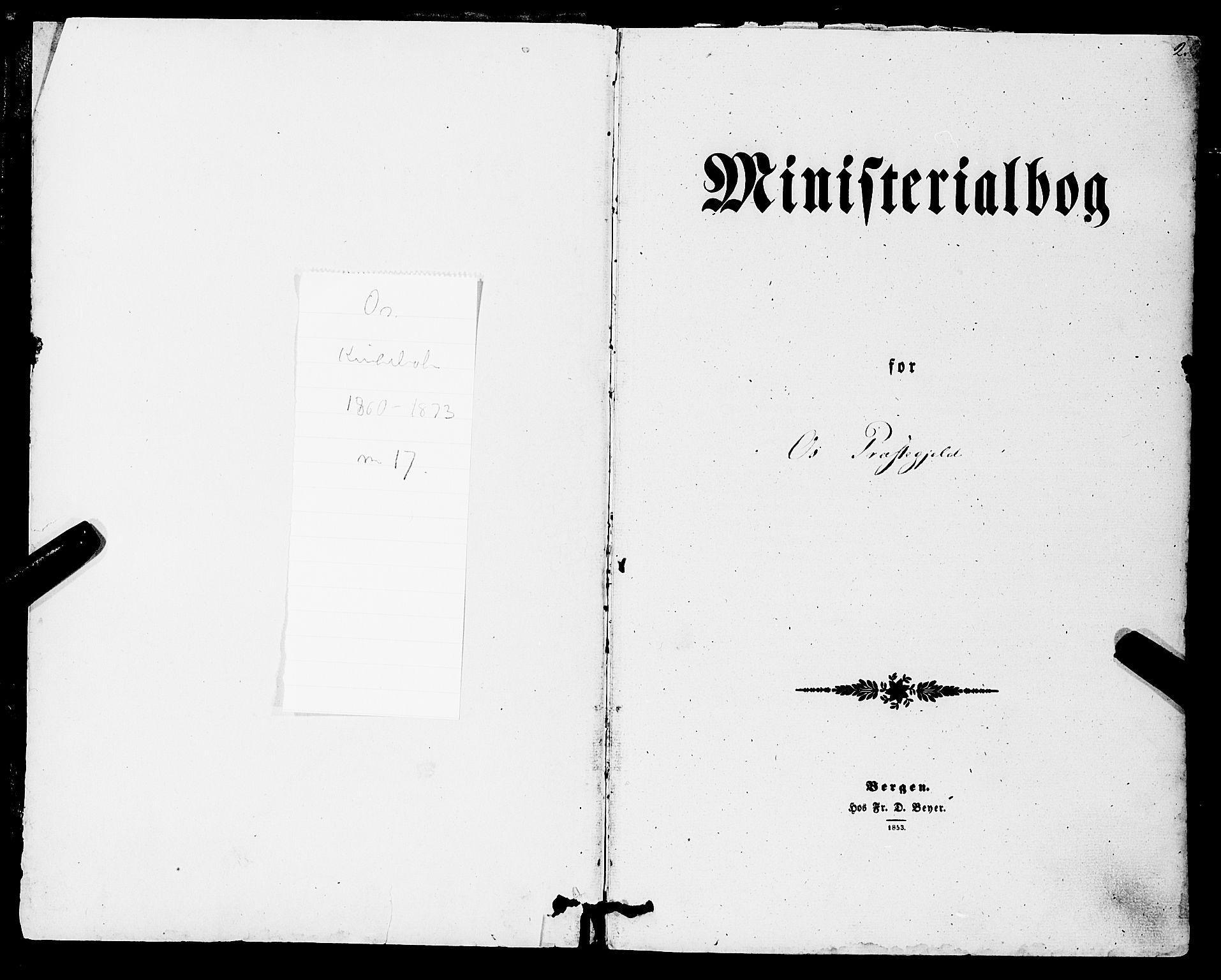 SAB, Os sokneprestembete*, Parish register (official) no. A 17, 1860-1873, p. 2