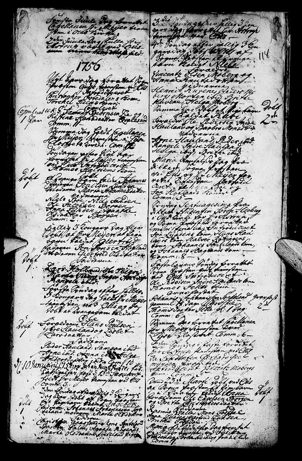 SAB, Os sokneprestembete*, Parish register (official) no. A 2, 1723-1758, p. 118