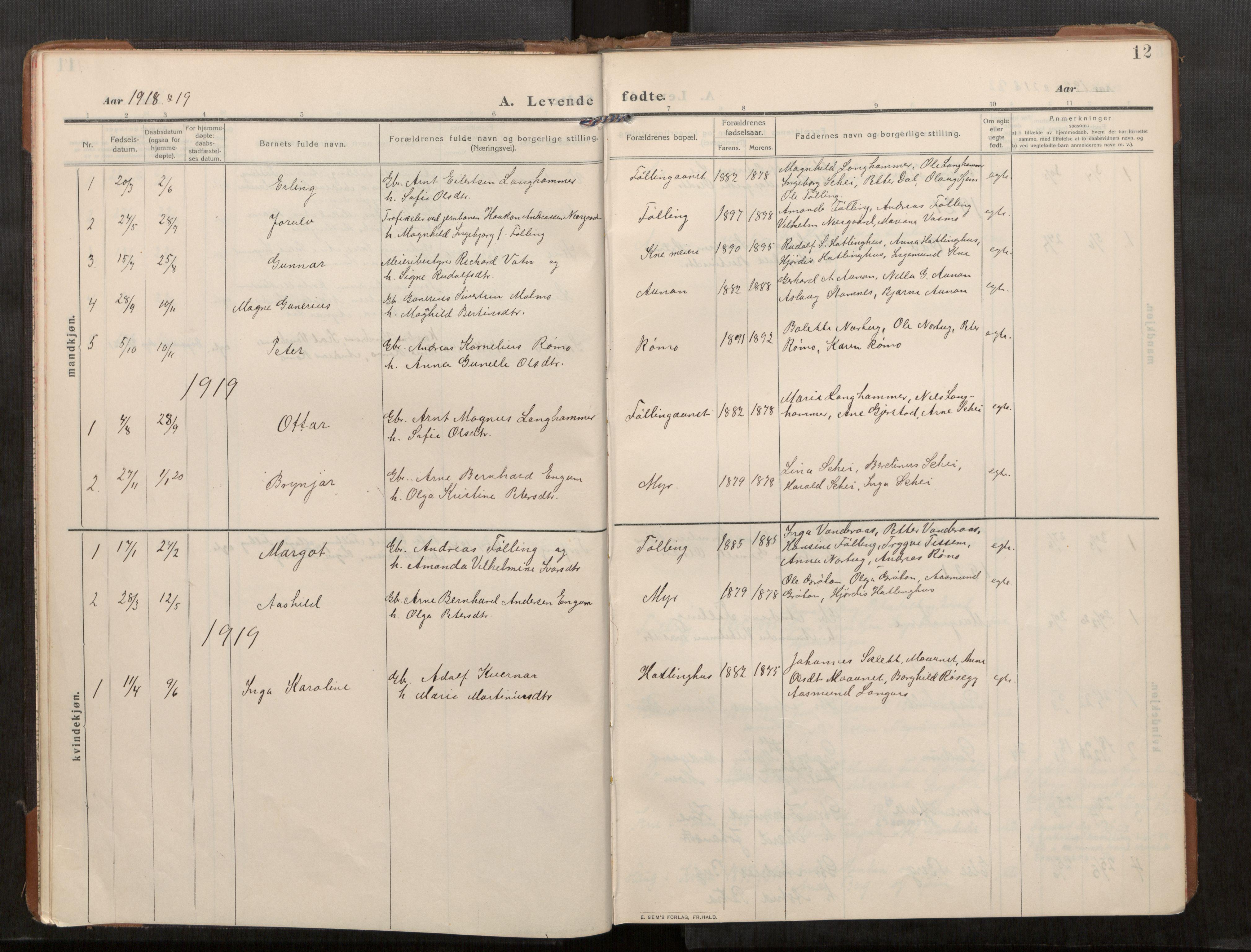 SAT, Stod sokneprestkontor, I/I1/I1a/L0003: Parish register (official) no. 3, 1909-1934, p. 12