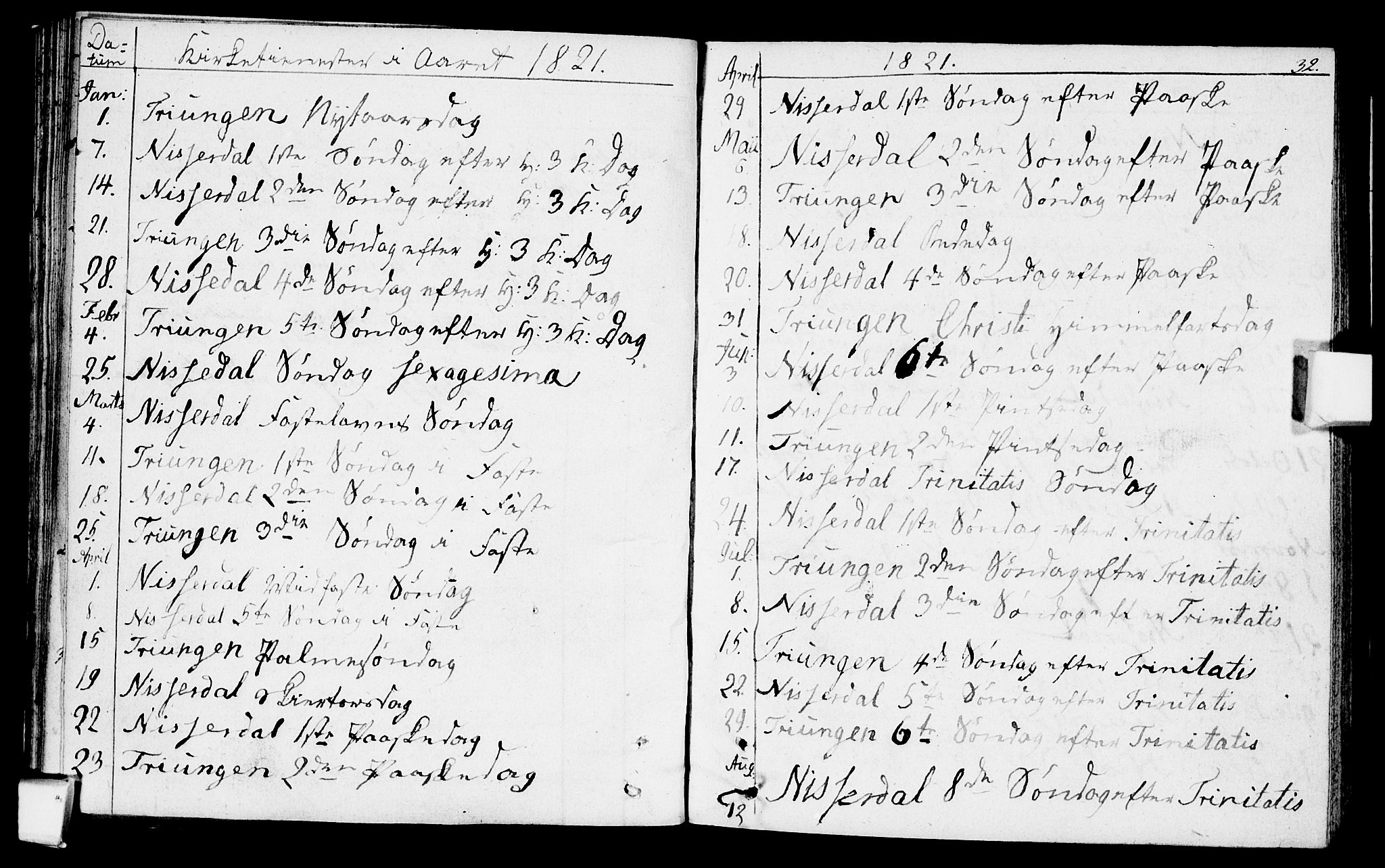 SAKO, Nissedal kirkebøker, F/Fa/L0001: Parish register (official) no. I 1, 1811-1814, p. 32