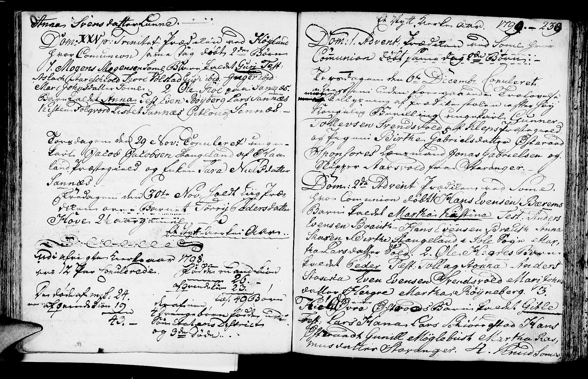 SAST, Høyland sokneprestkontor, 30BA/L0004: Parish register (official) no. A 4, 1784-1803, p. 239