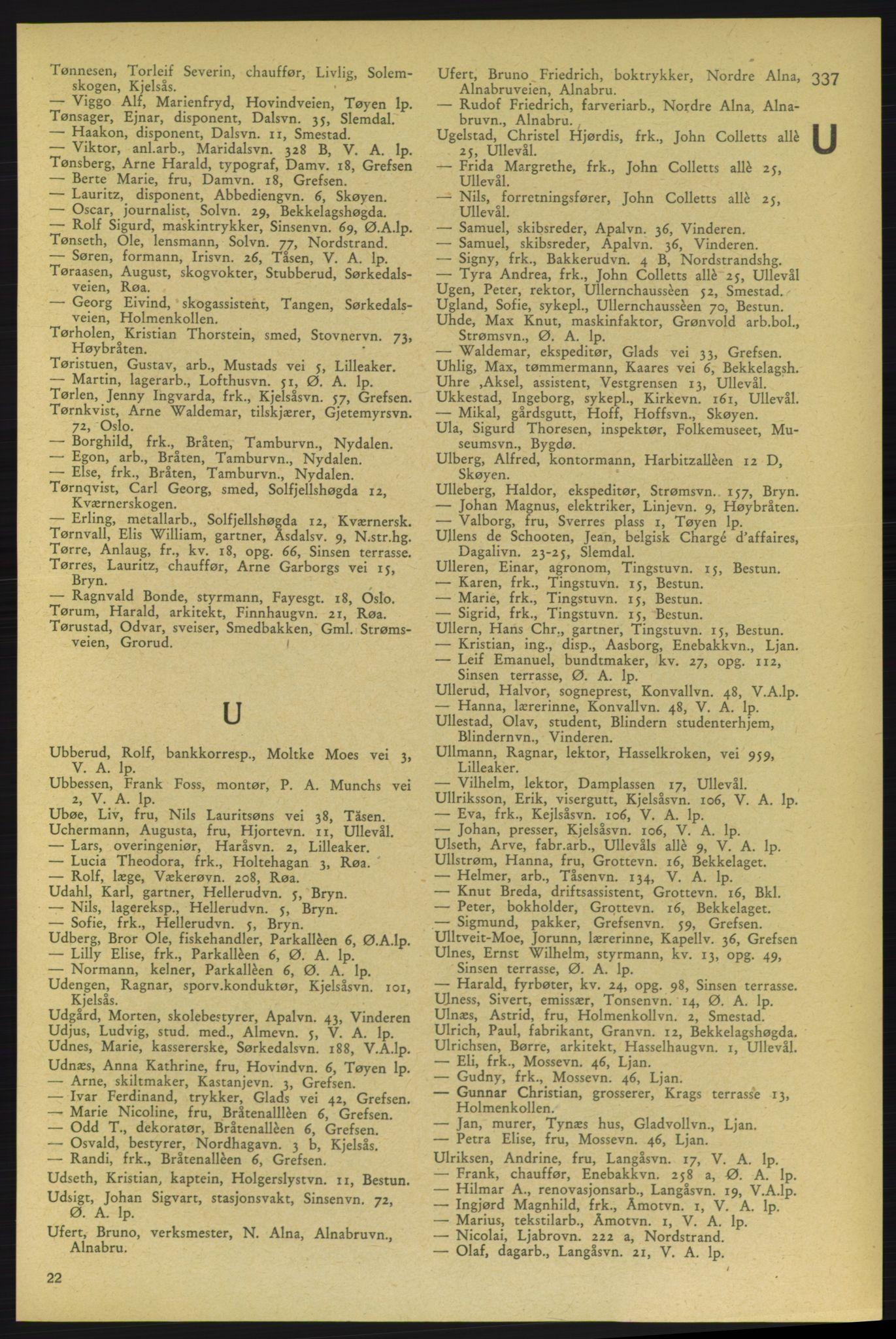 RA, Aker adressebok/adressekalender (publikasjon)*, 1937-1938, p. 337