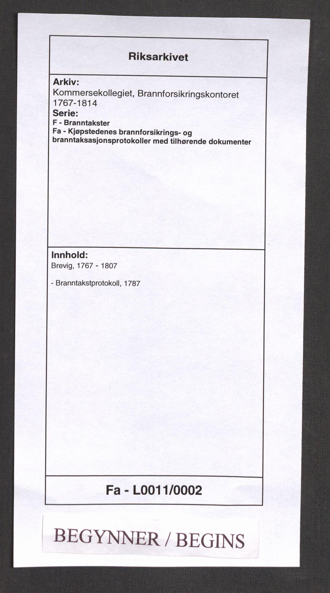 RA, Kommersekollegiet, Brannforsikringskontoret 1767-1814, F/Fa/L0011: Brevik, 1787