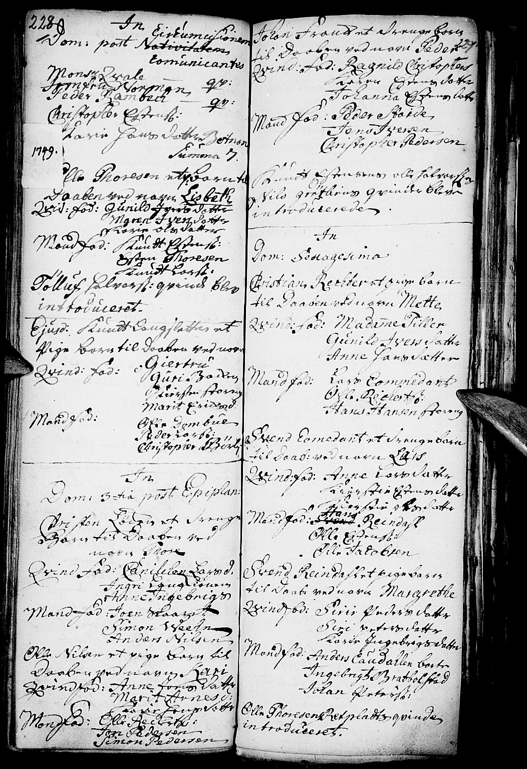 SAH, Kvikne prestekontor, Parish register (official) no. 1, 1740-1756, p. 228-229