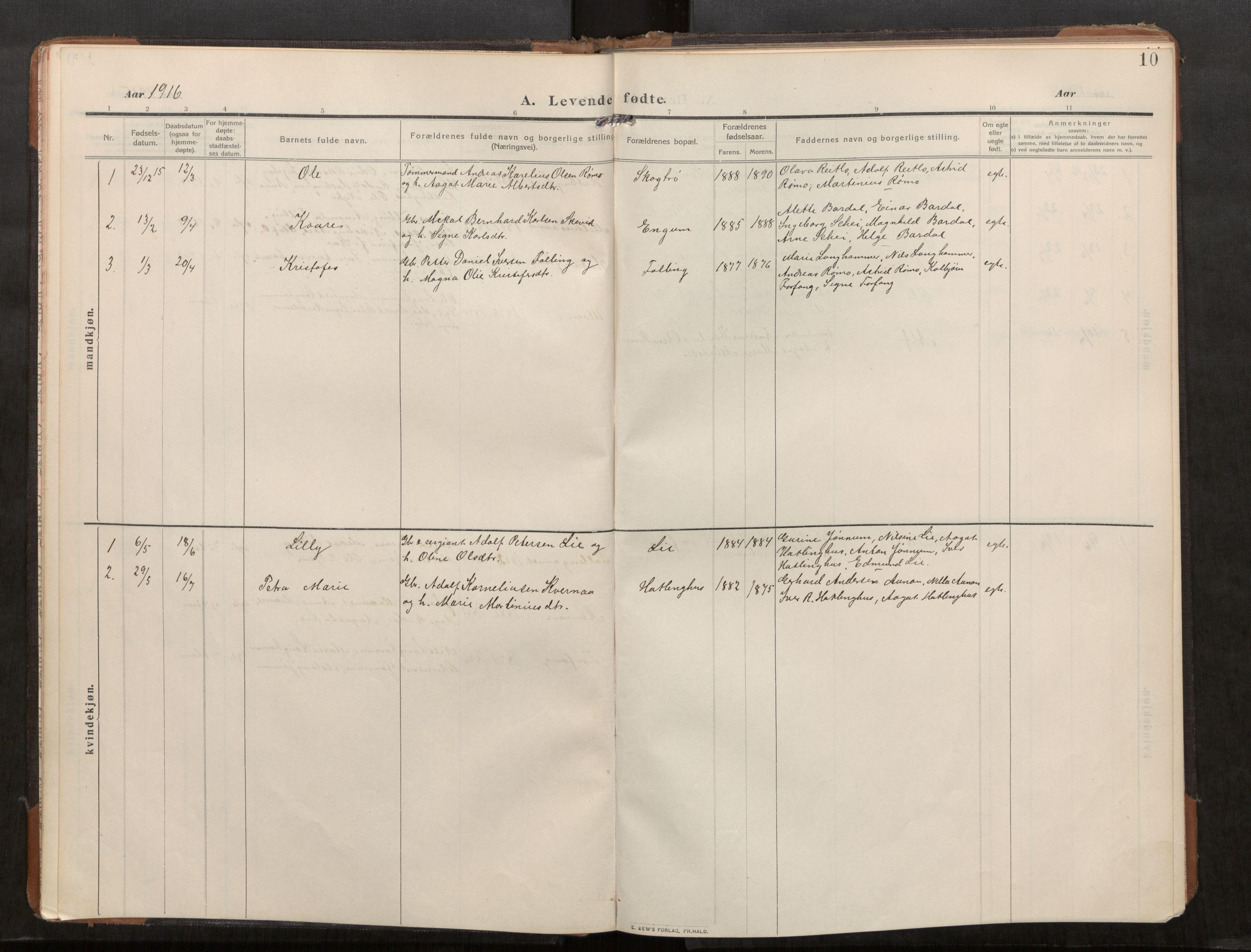 SAT, Stod sokneprestkontor, I/I1/I1a/L0003: Parish register (official) no. 3, 1909-1934, p. 10