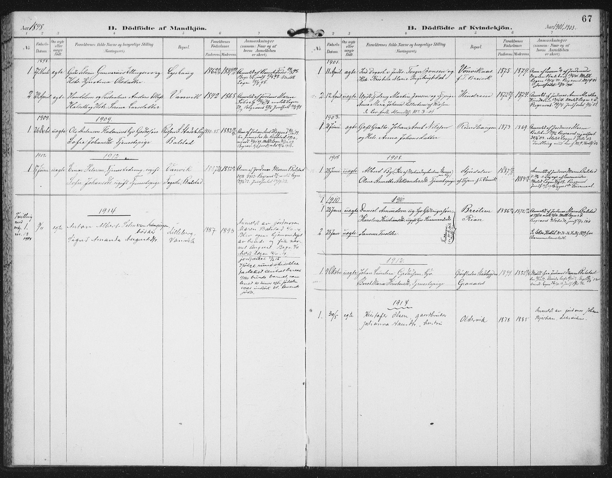 SAT, Ministerialprotokoller, klokkerbøker og fødselsregistre - Nord-Trøndelag, 702/L0024: Parish register (official) no. 702A02, 1898-1914, p. 67