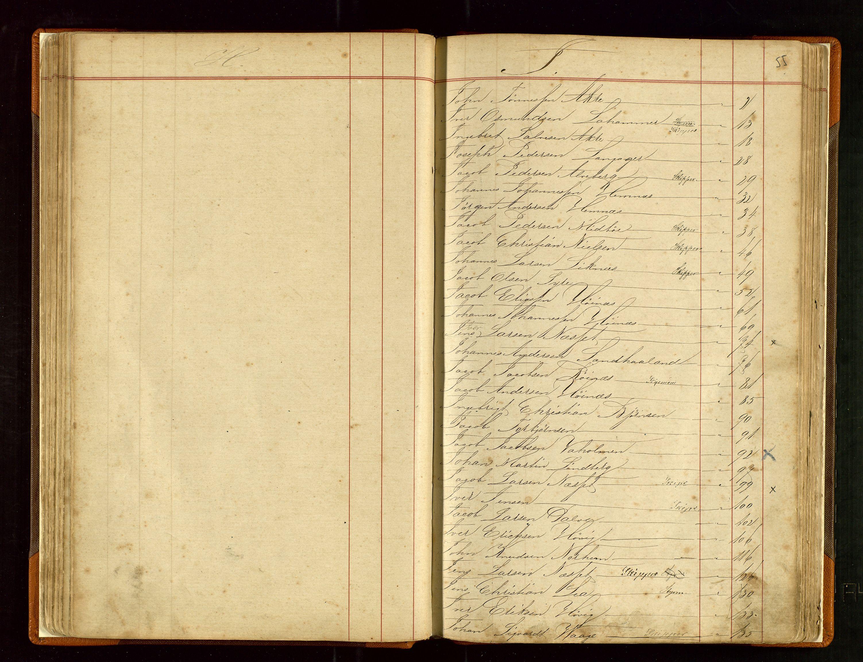 SAST, Haugesund sjømannskontor, F/Fb/Fba/L0003: Navneregister med henvisning til rullenummer (fornavn) Haugesund krets, 1860-1948, p. 55