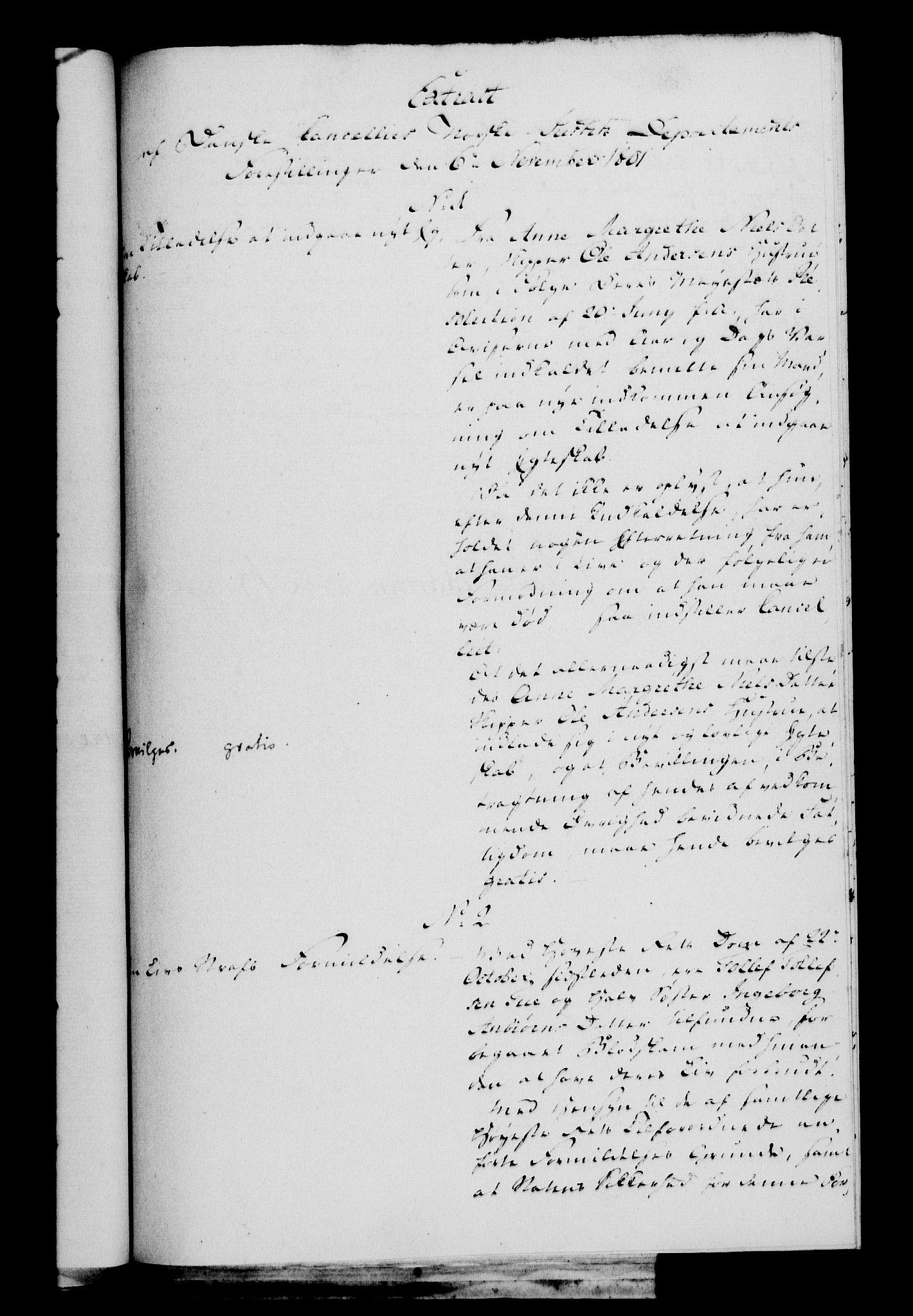 RA, Danske Kanselli 1800-1814, H/Hf/Hfa/Hfaa/L0002: Ekstrakt av forestillinger, 1801