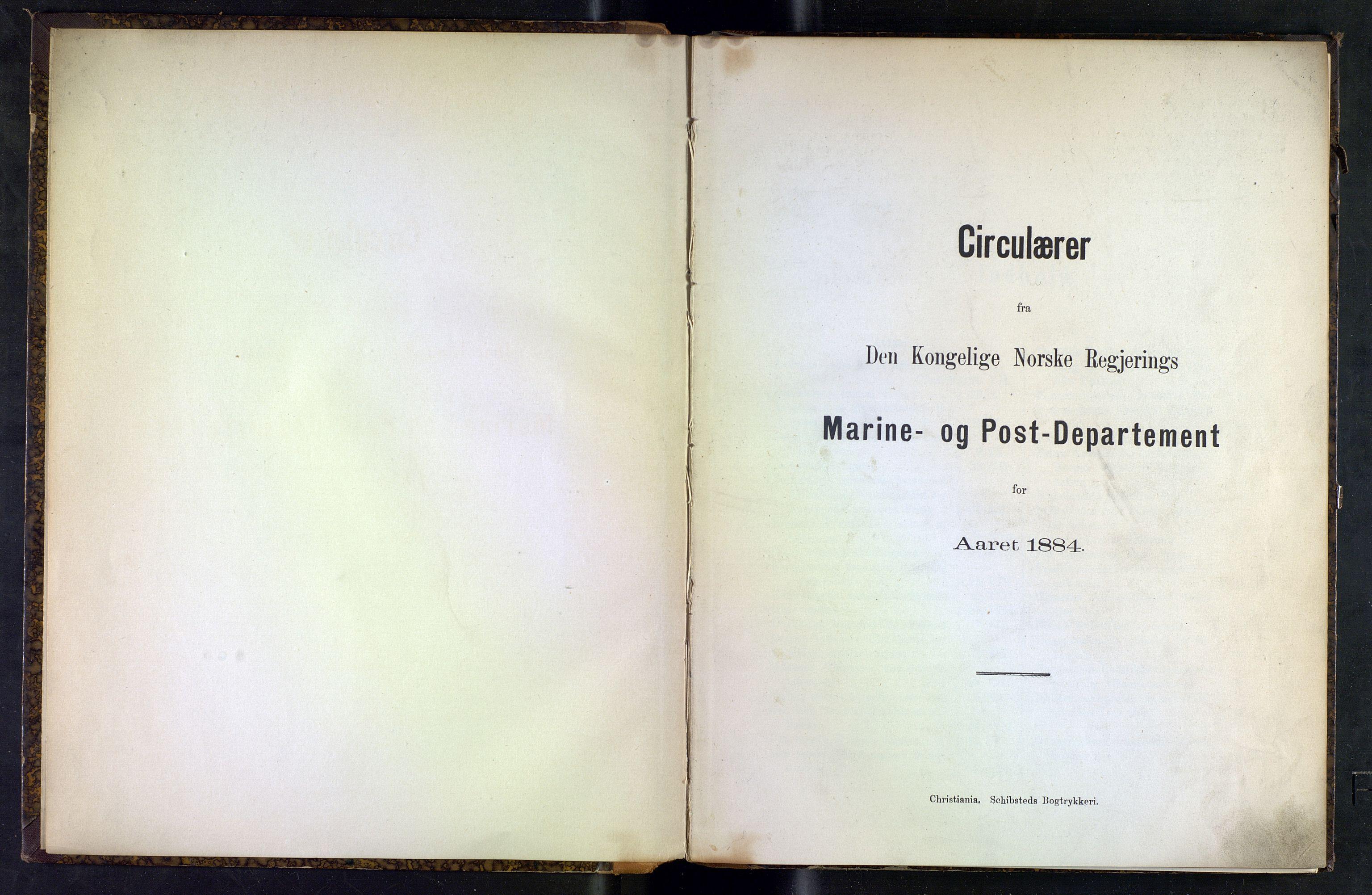 NOPO, Norges Postmuseums bibliotek, -/-: Sirkulærer fra Den Kongelige Norske Regjerings Marine- og Postdepartement, 1884