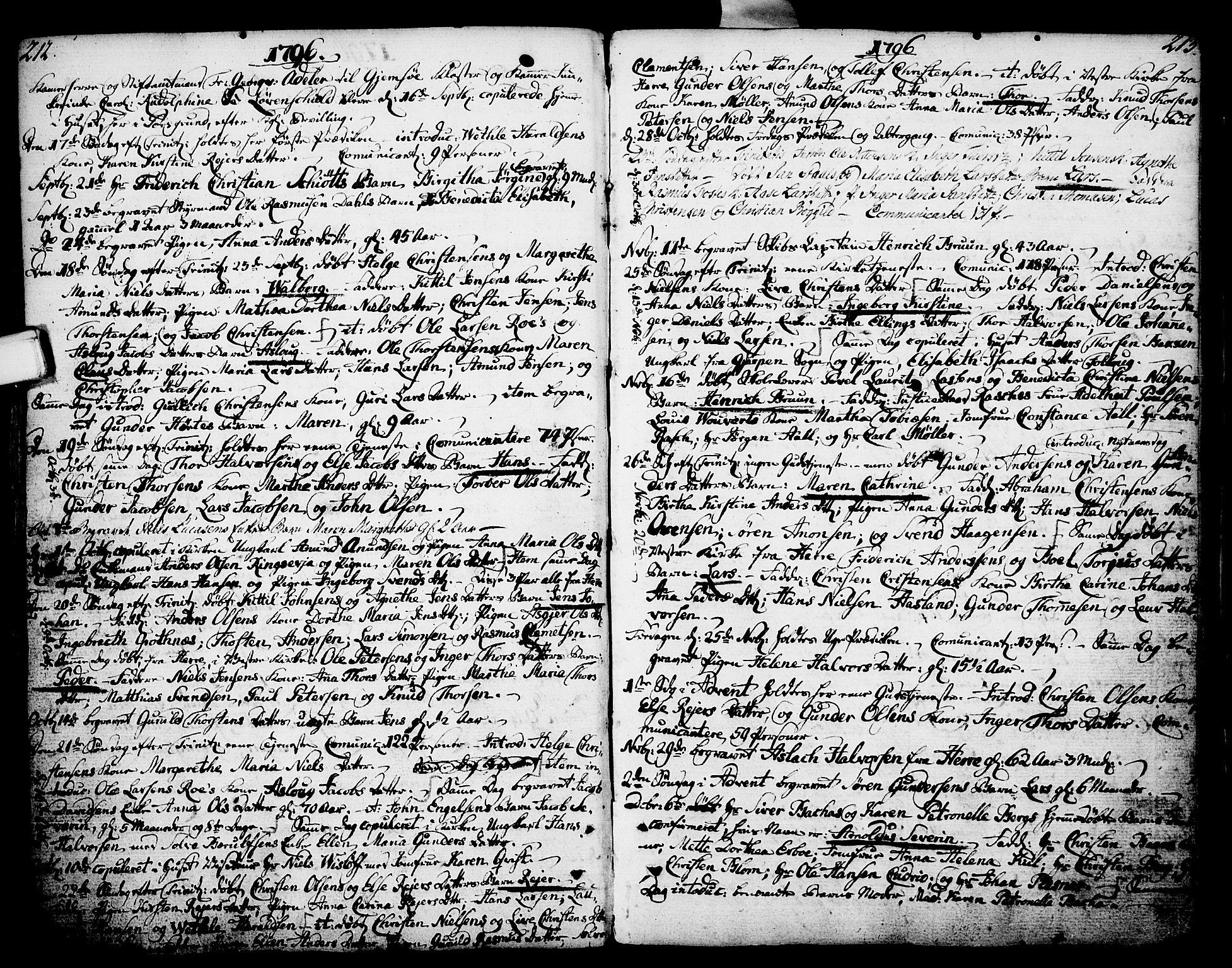 SAKO, Porsgrunn kirkebøker , F/Fa/L0002: Parish register (official) no. 2, 1764-1814, p. 212-213