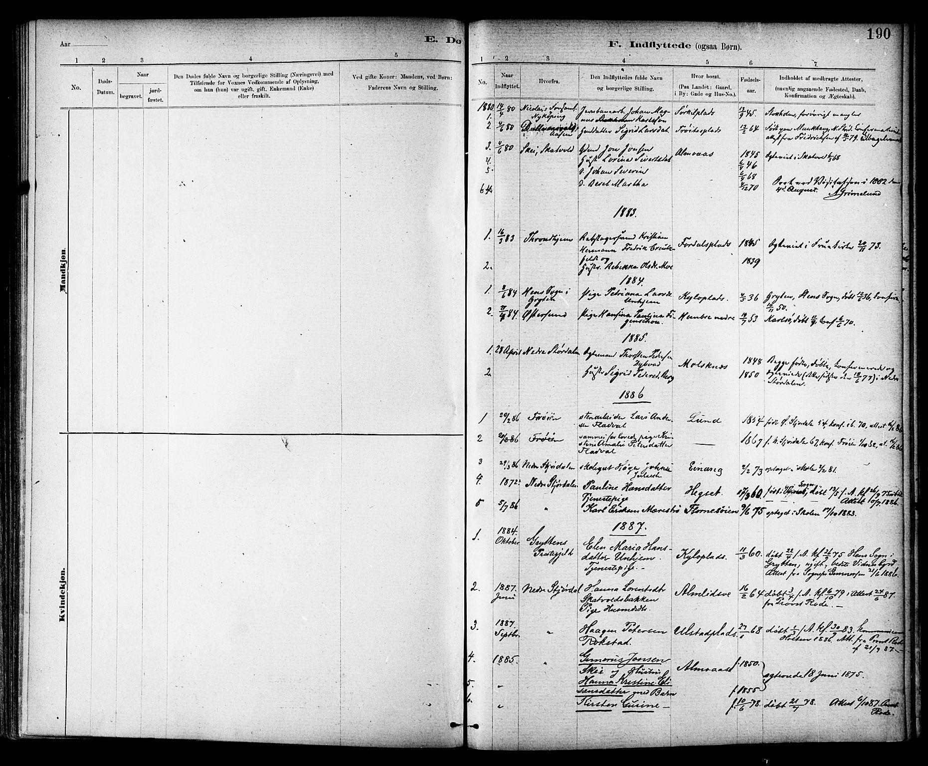 SAT, Ministerialprotokoller, klokkerbøker og fødselsregistre - Nord-Trøndelag, 703/L0030: Parish register (official) no. 703A03, 1880-1892, p. 190