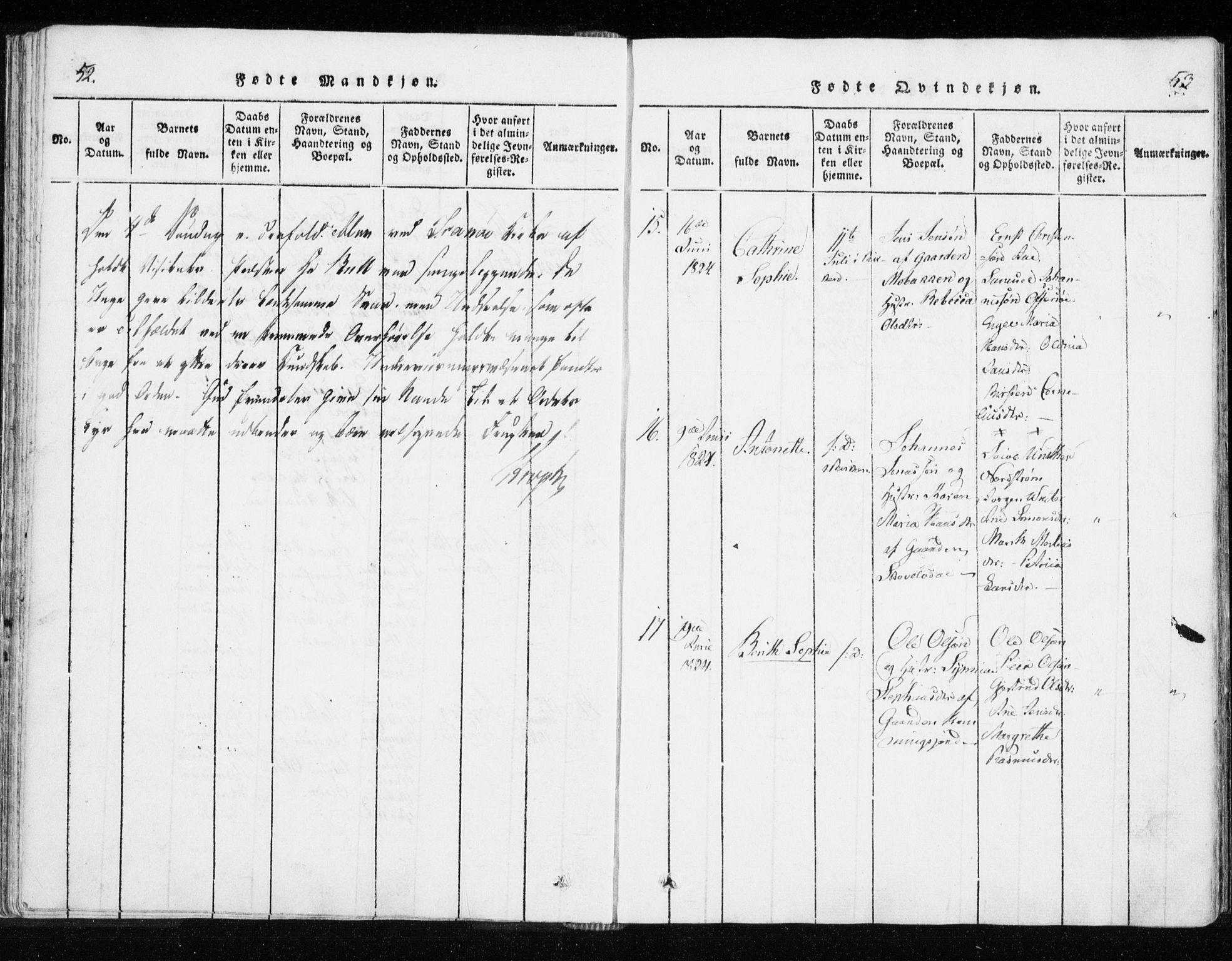 SATØ, Tranøy sokneprestkontor, I/Ia/Iaa/L0004kirke: Parish register (official) no. 4, 1820-1829, p. 52-53