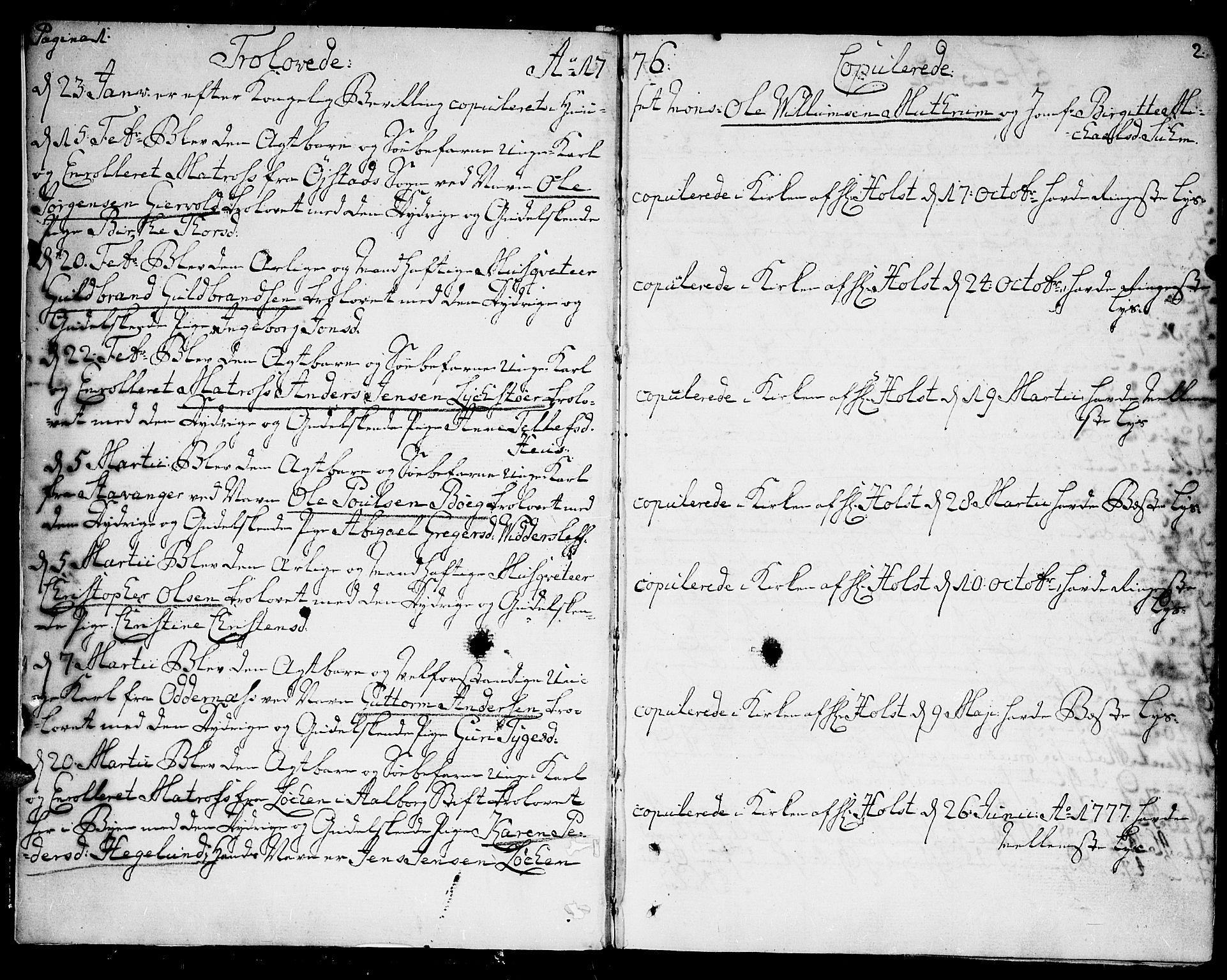 SAK, Kristiansand domprosti, F/Fa/L0005: Parish register (official) no. A 5, 1776-1818, p. 1-2