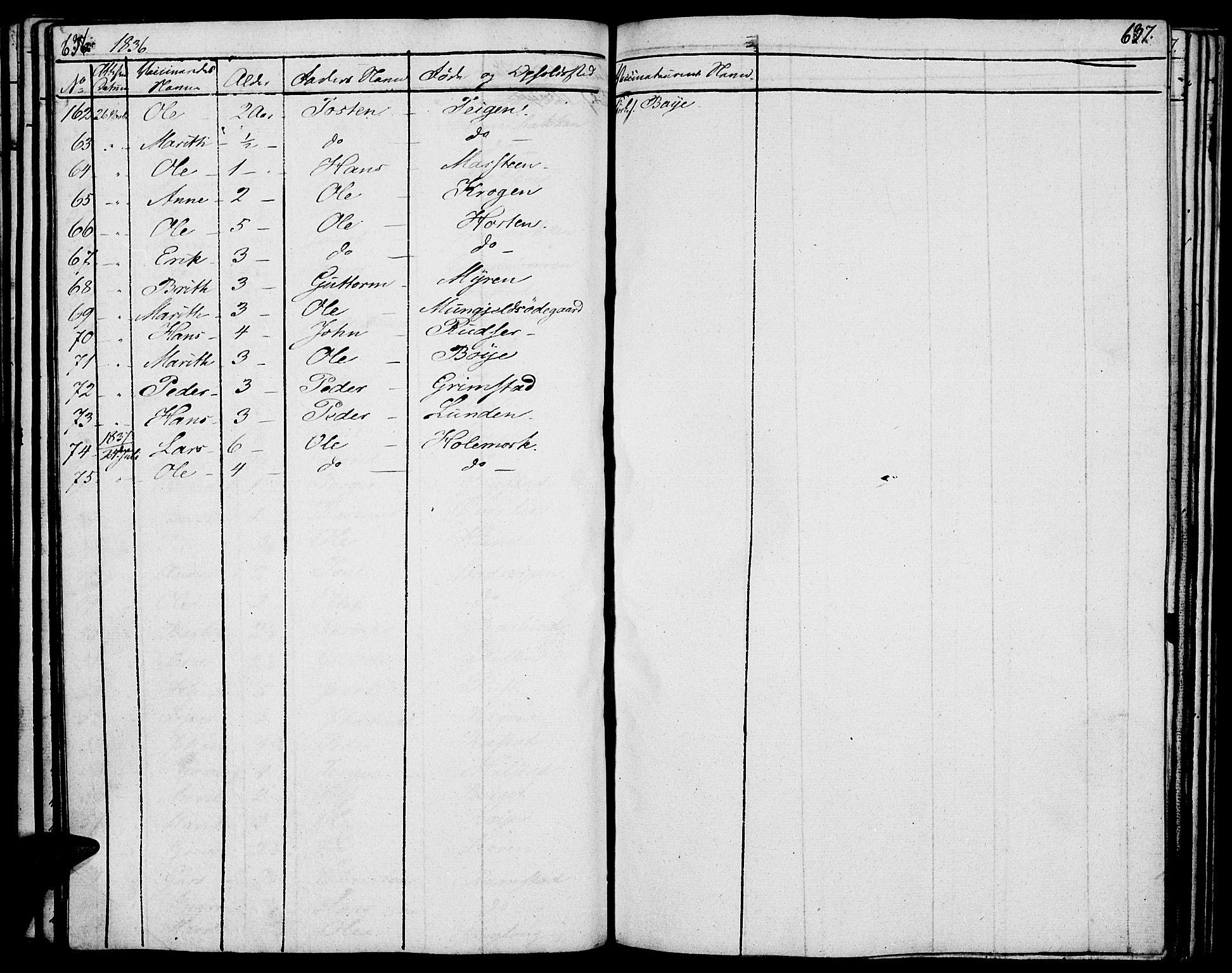 SAH, Lom prestekontor, K/L0005: Parish register (official) no. 5, 1825-1837, p. 636-637