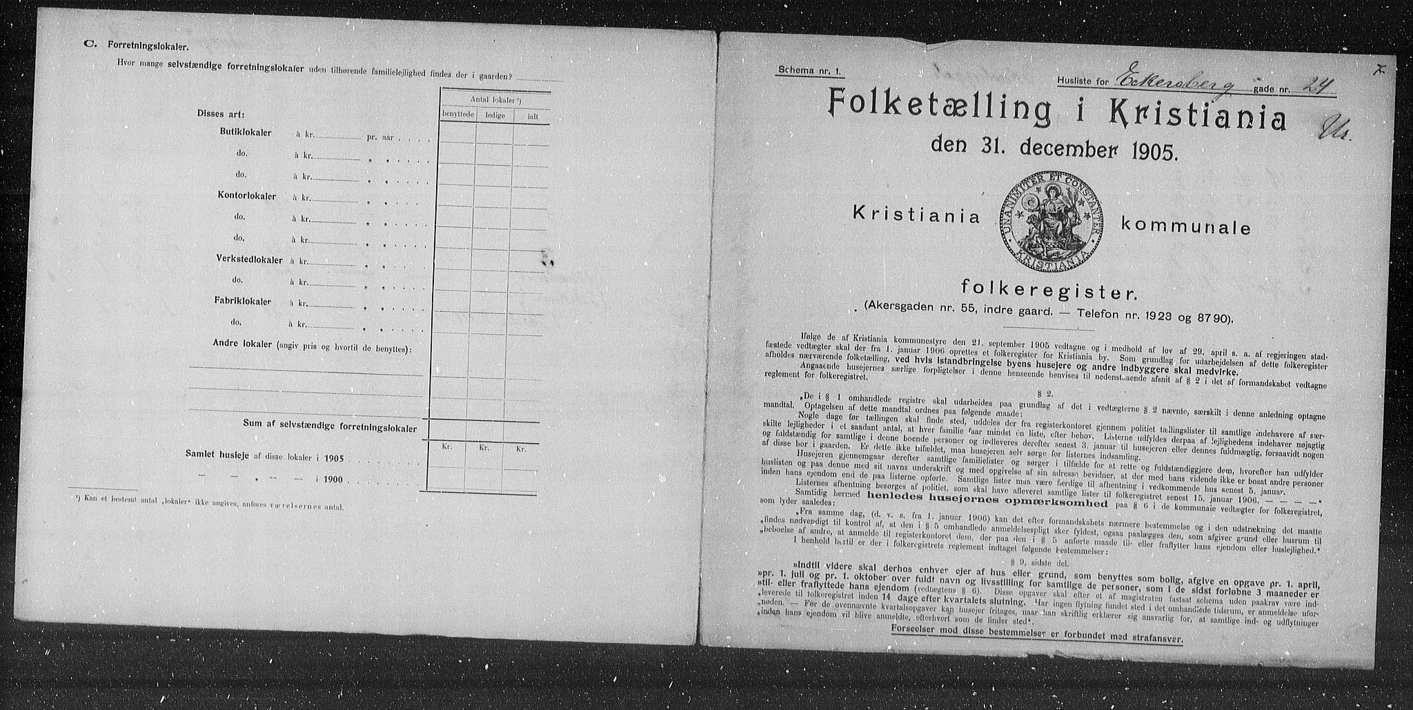 OBA, Municipal Census 1905 for Kristiania, 1905, p. 9492