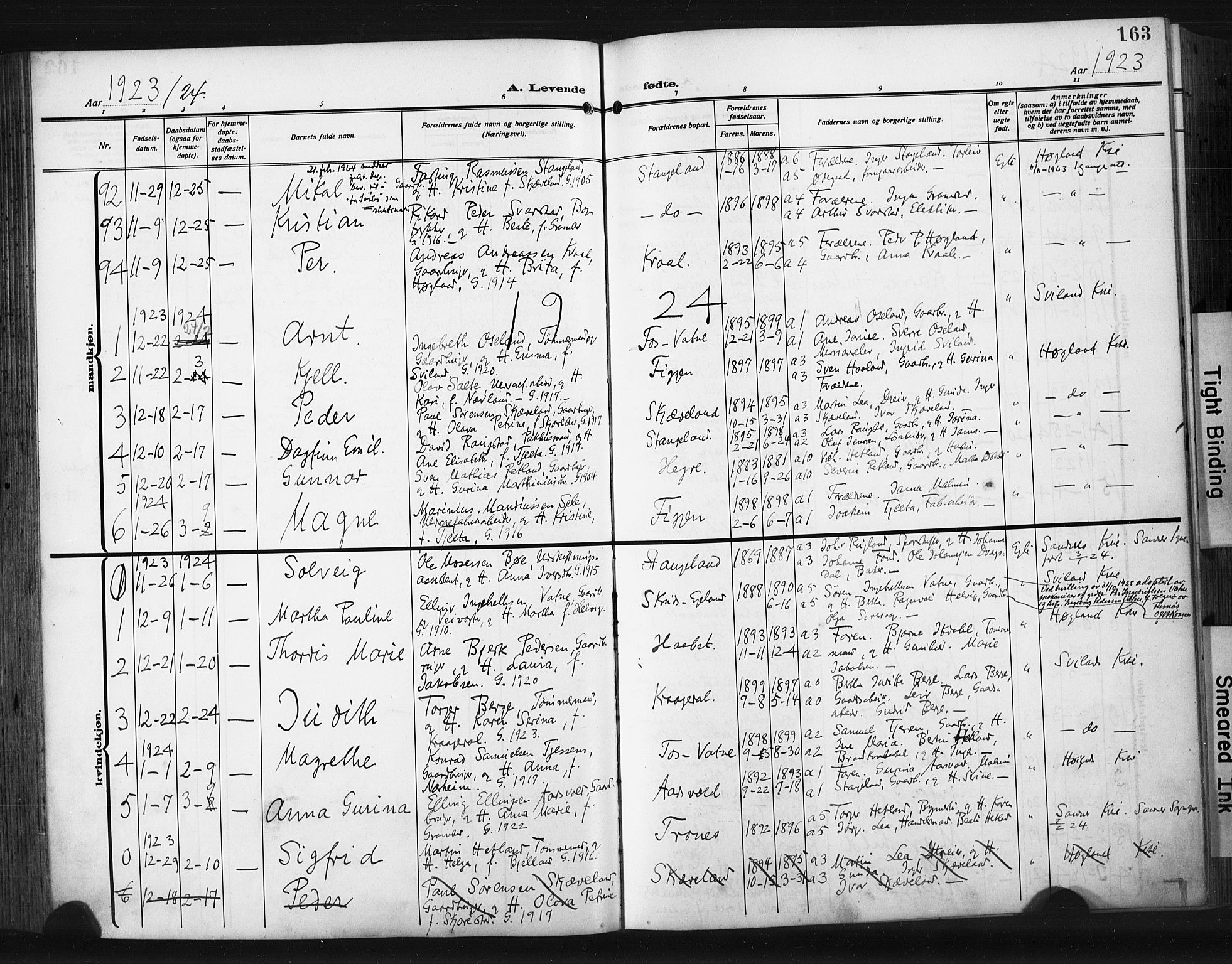 SAST, Høyland sokneprestkontor, 30BA/L0017: Parish register (official) no. A 15, 1912-1924, p. 163