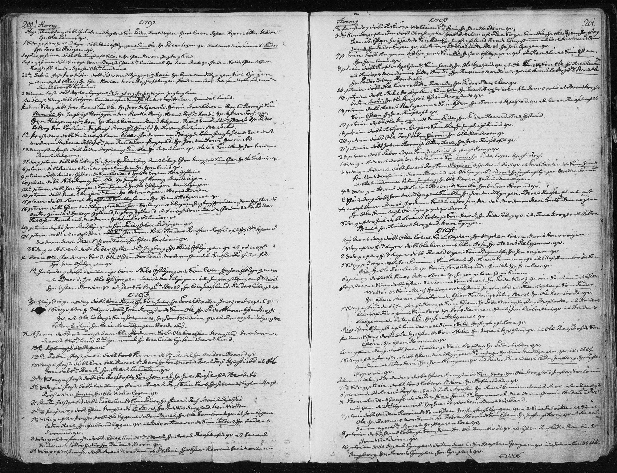 SAT, Ministerialprotokoller, klokkerbøker og fødselsregistre - Sør-Trøndelag, 687/L0992: Parish register (official) no. 687A03 /1, 1788-1815, p. 200-201