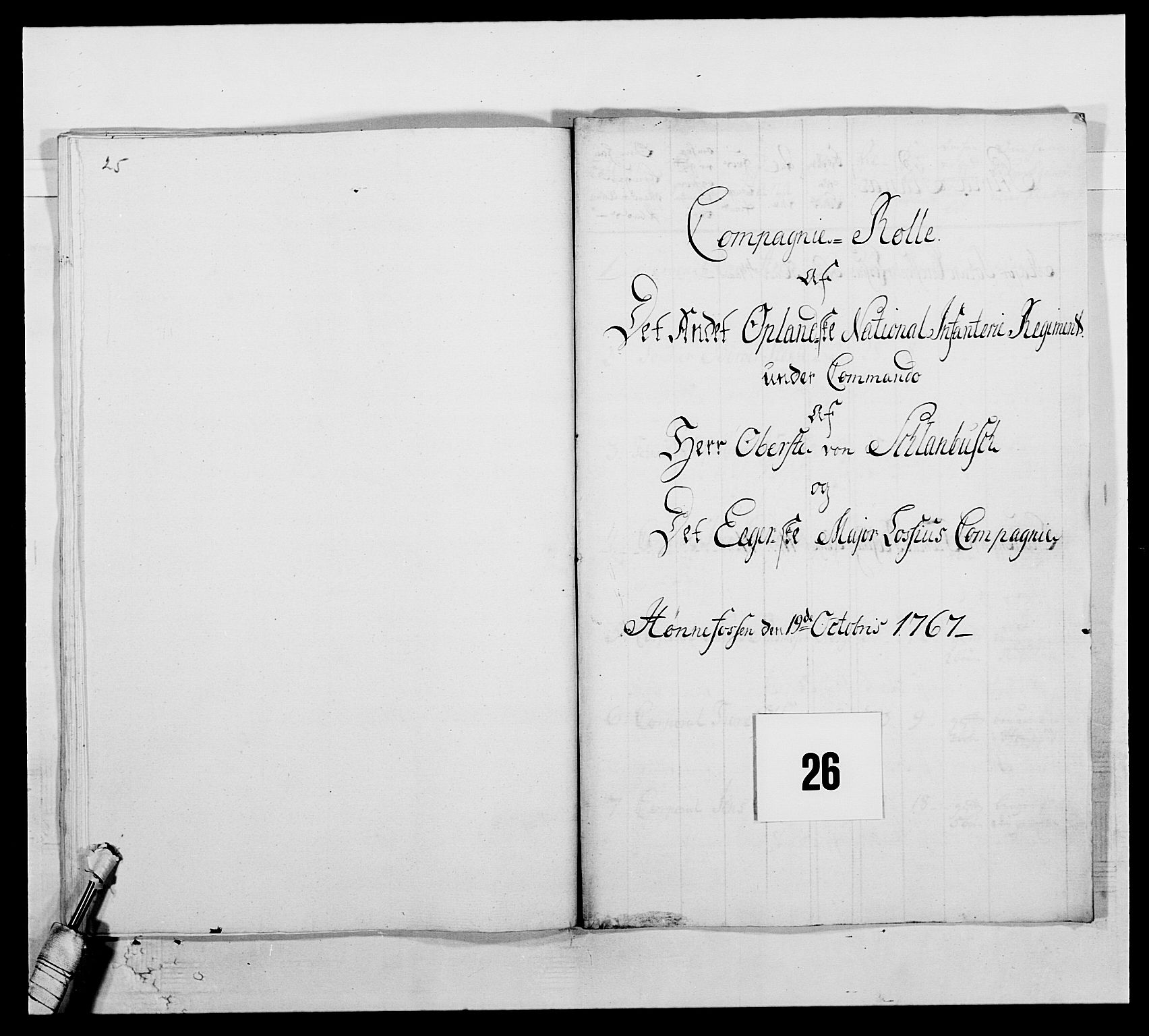 RA, Kommanderende general (KG I) med Det norske krigsdirektorium, E/Ea/L0507: 2. Opplandske regiment, 1766-1767, p. 567