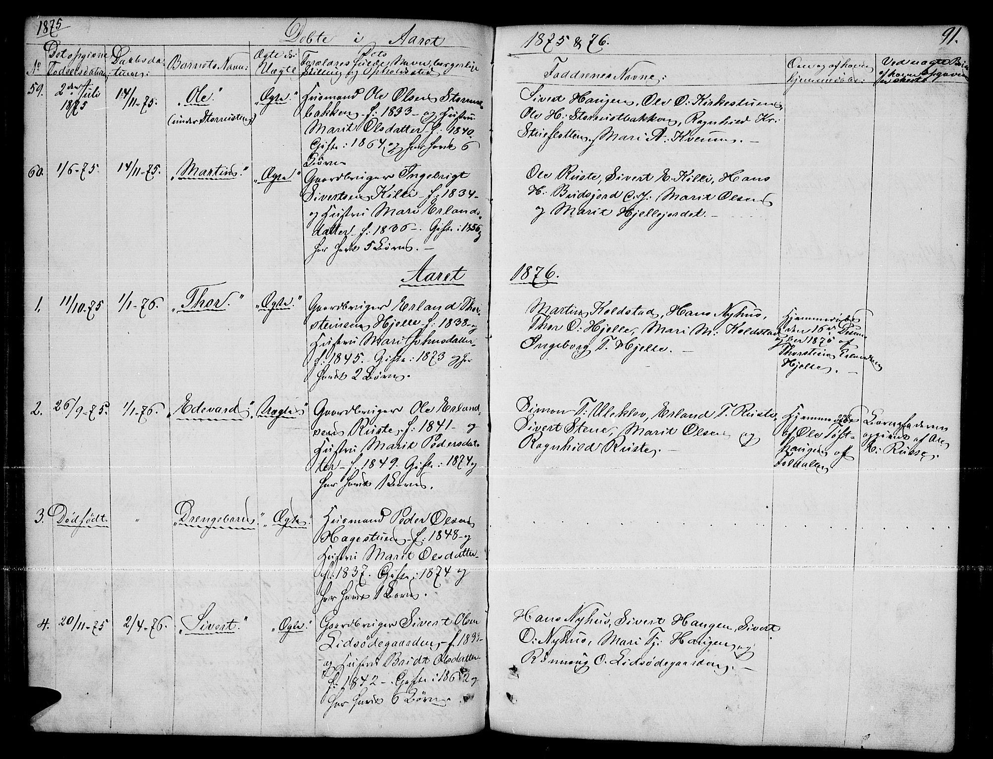 SAH, Dovre prestekontor, Parish register (copy) no. 1, 1862-1880, p. 91